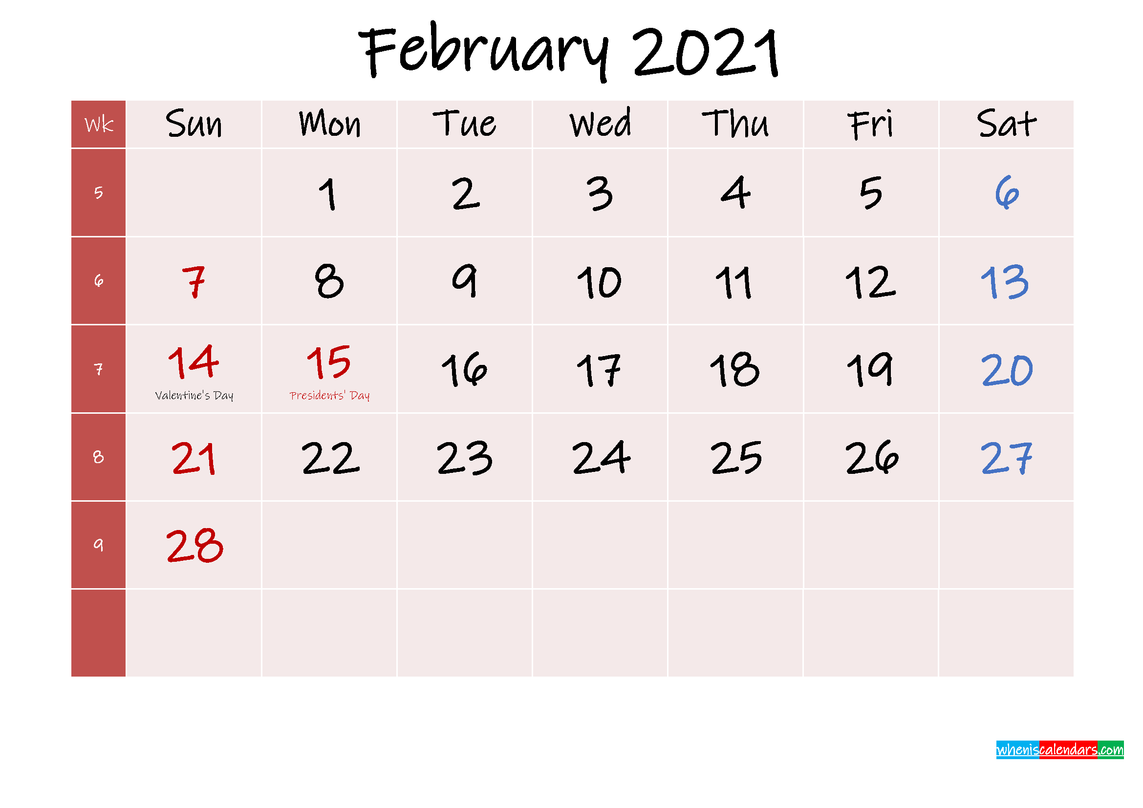 Free Printable February 2021 Calendar with Holidays ...