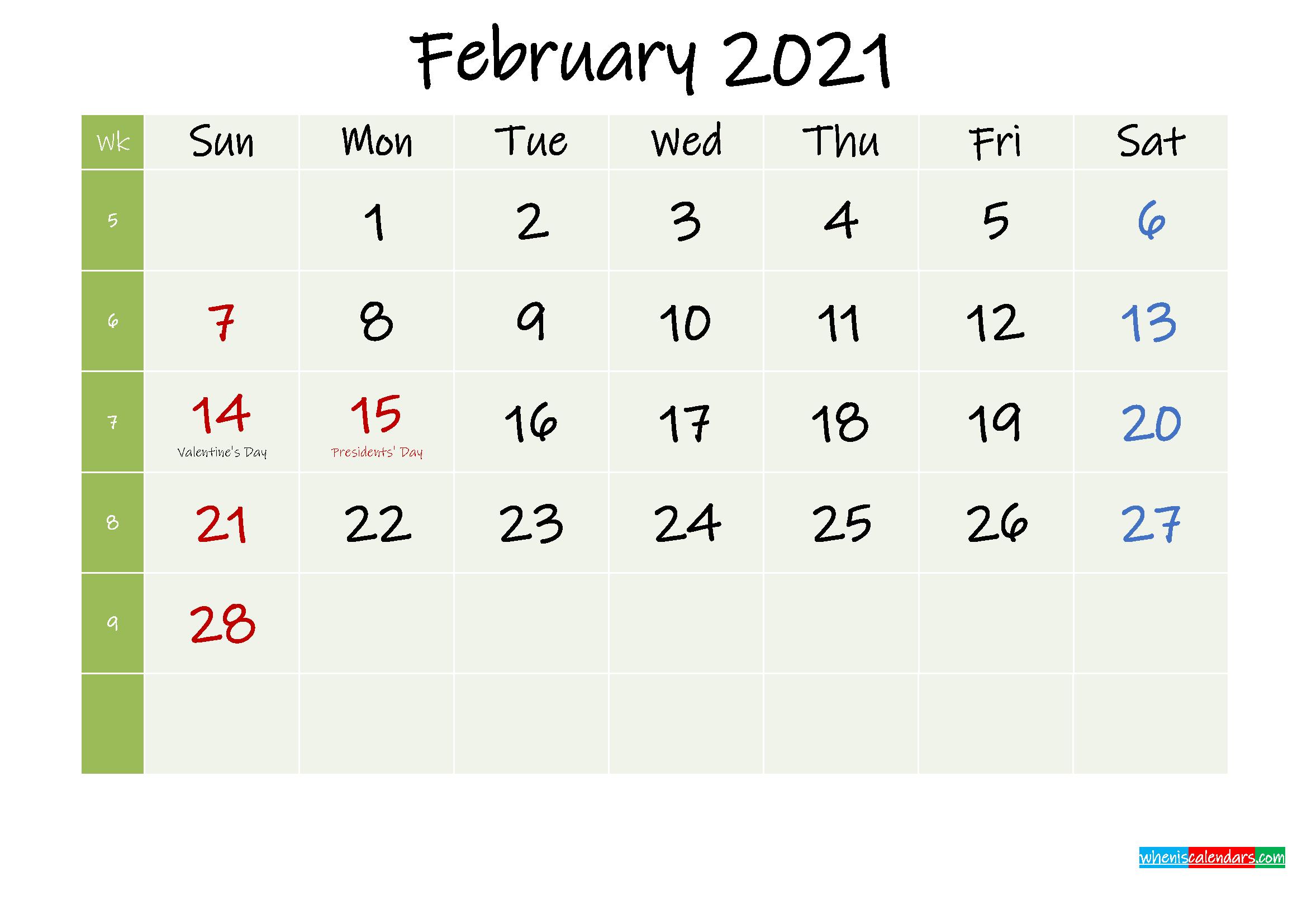 February 2021 Calendar with Holidays Printable