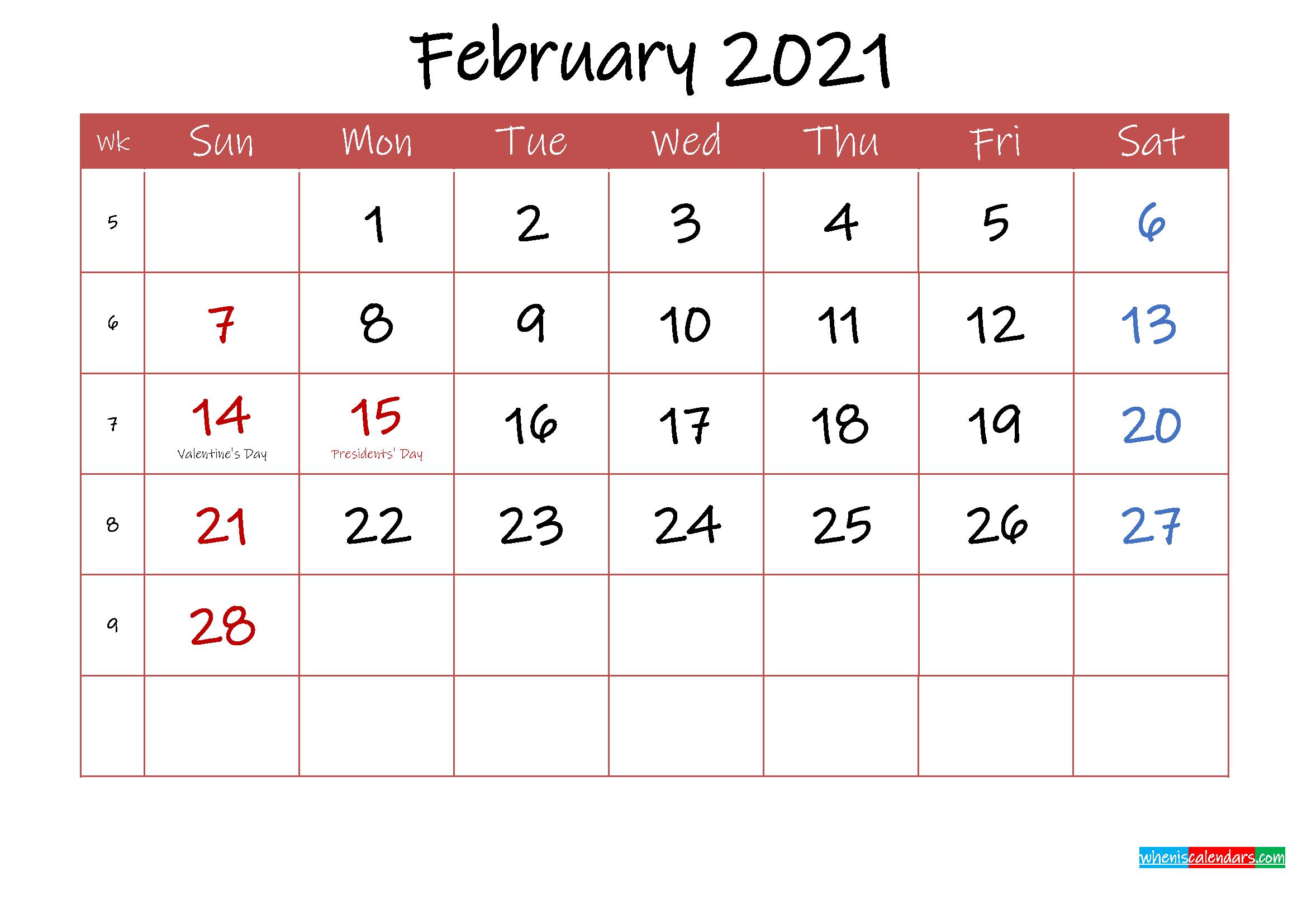 Printable February 2021 Calendar with Holidays