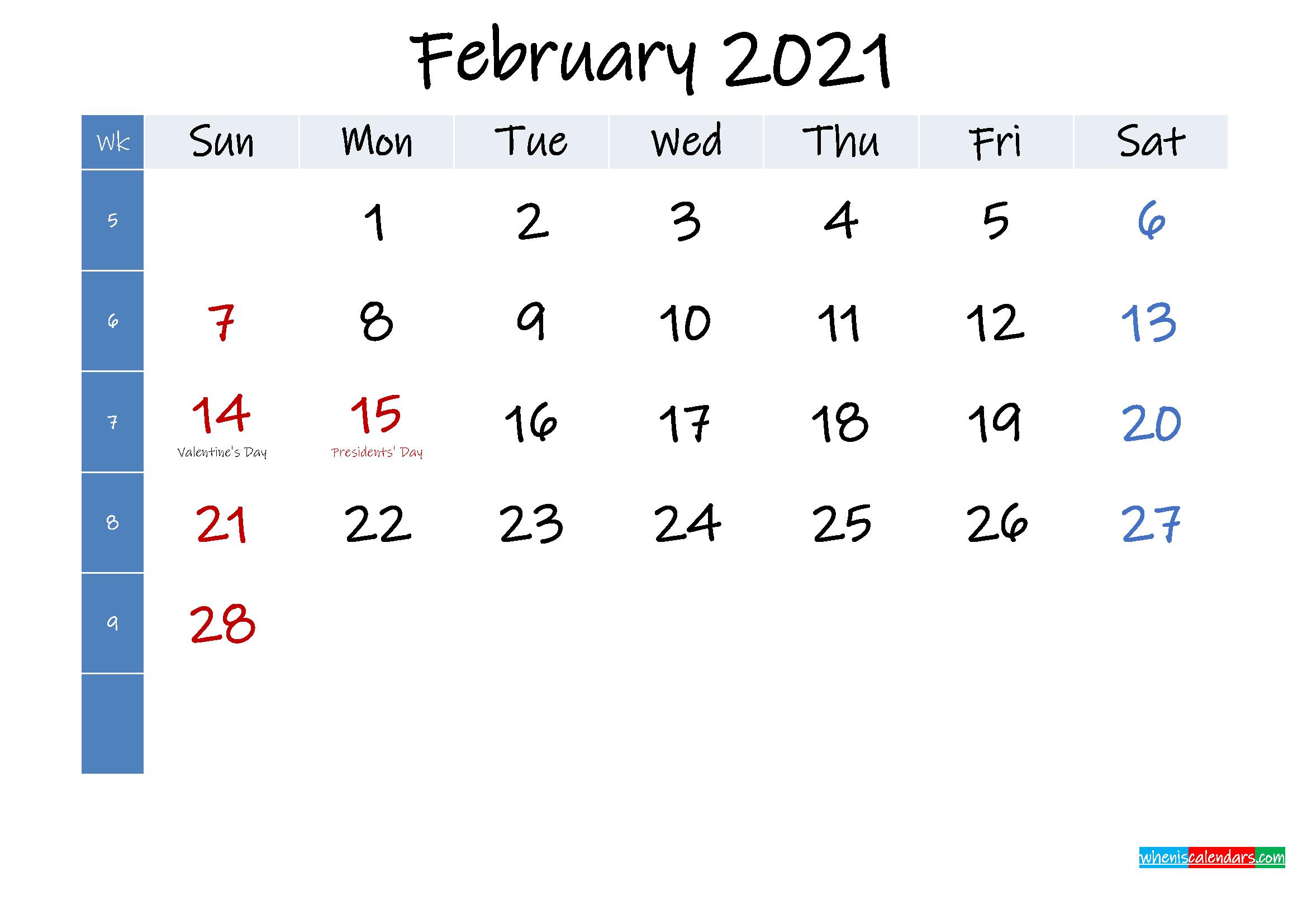 February 2021 Free Printable Calendar with Holidays