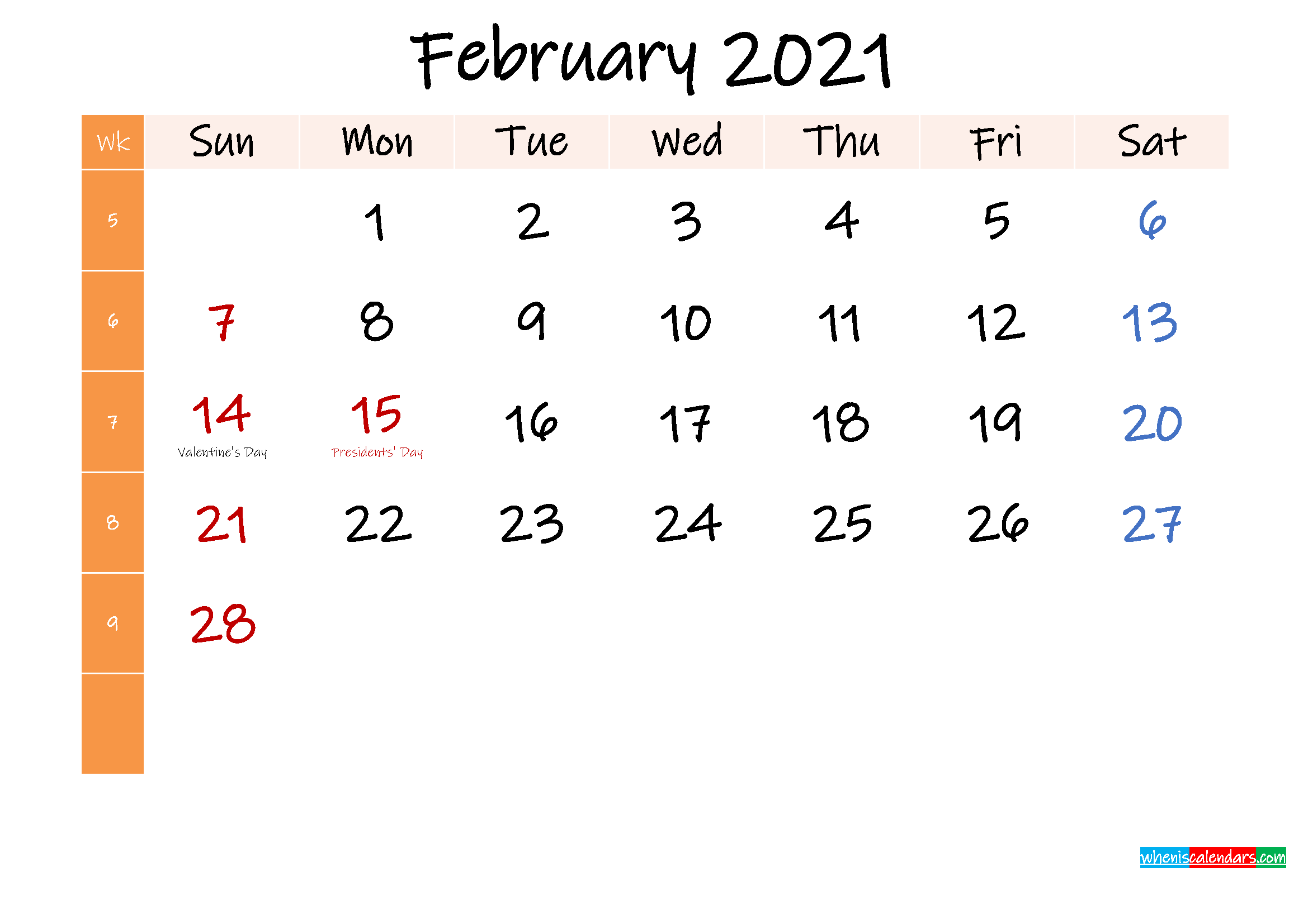 Free February 2021 Monthly Calendar Template Word