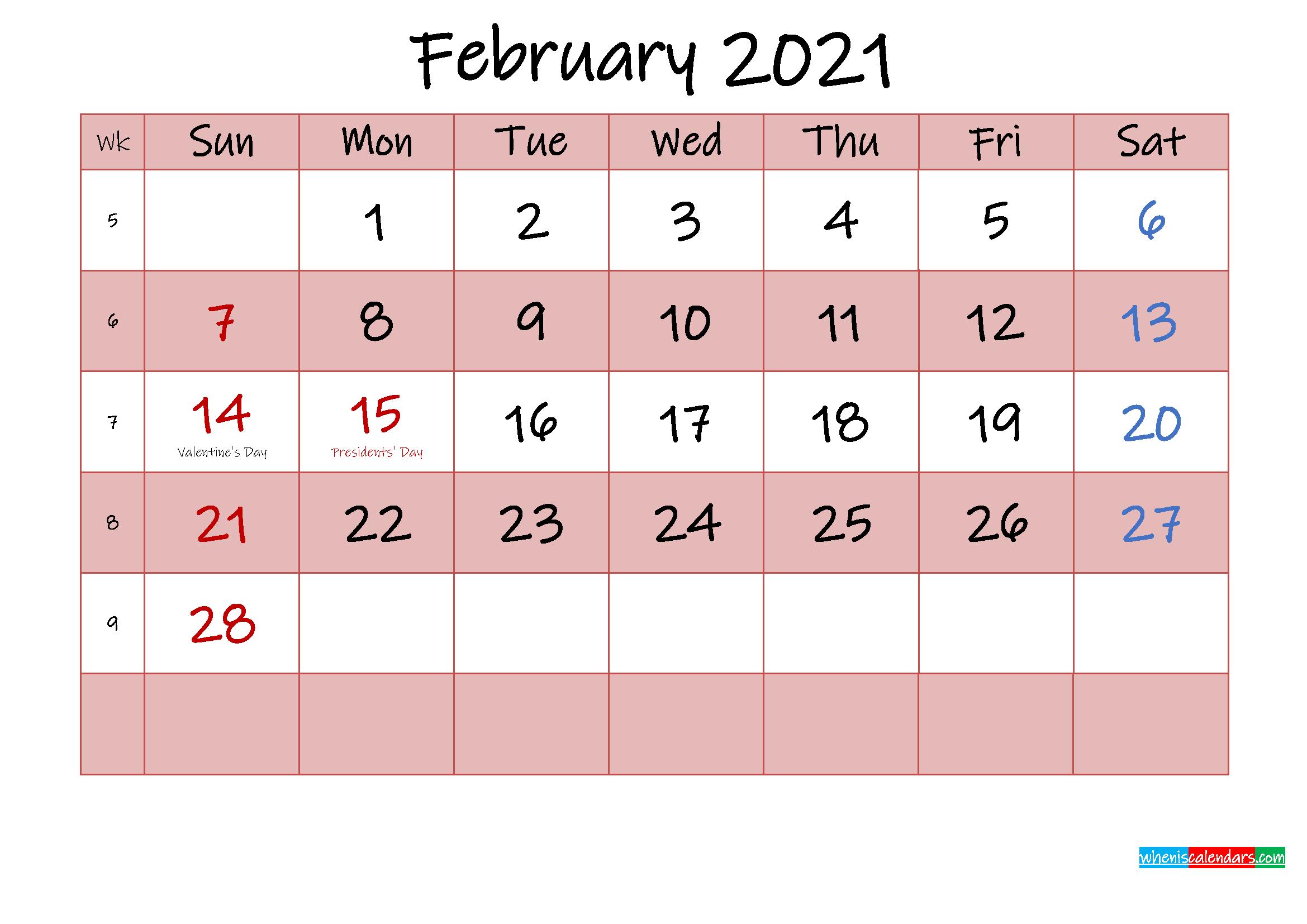 Free Printable Coloring Calendar 2021 February