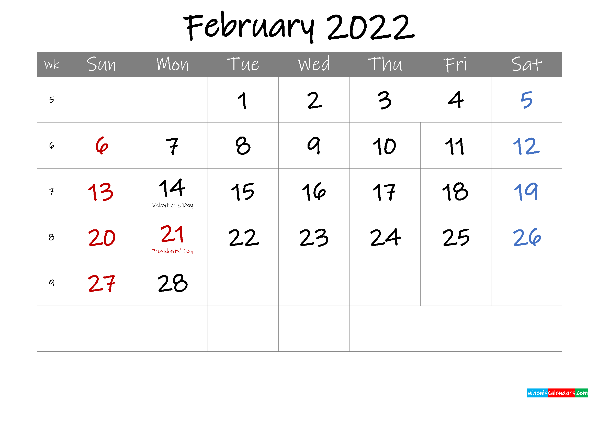 Editable February 2022 Calendar with Holidays - Template ...