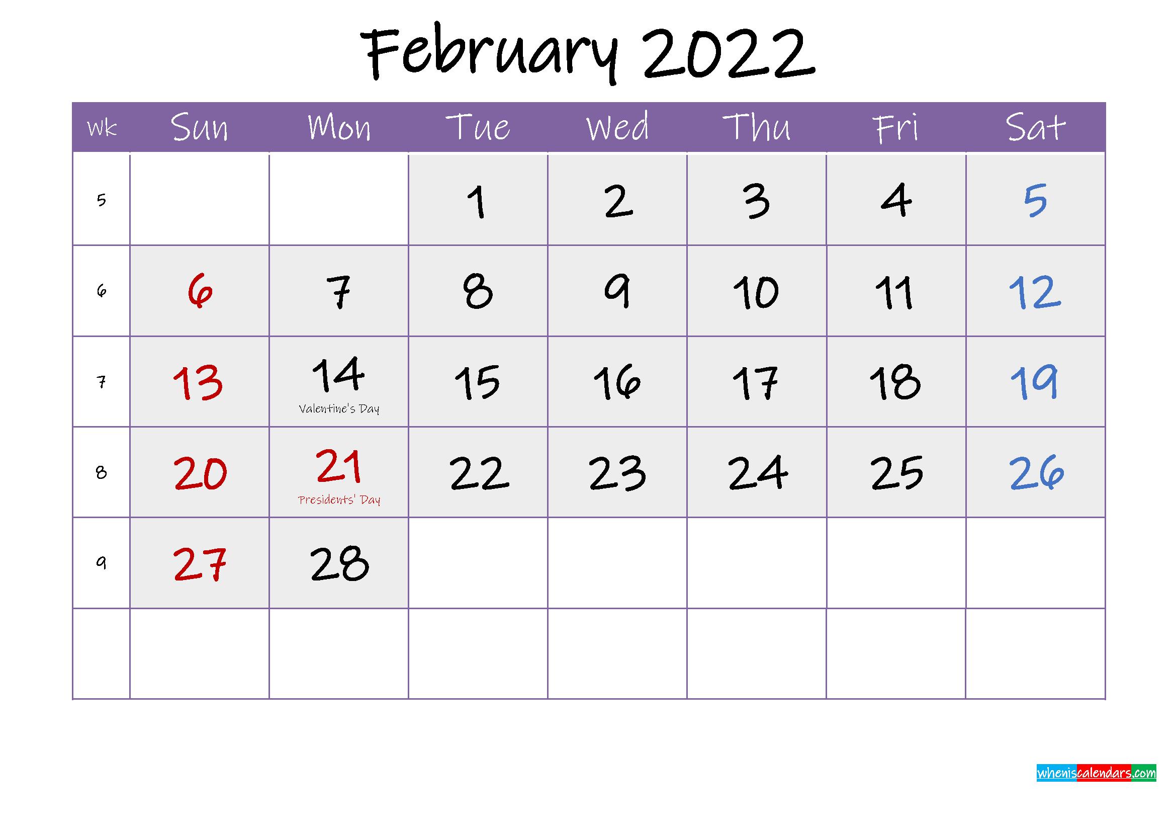 Free February 2022 Printable Calendar with Holidays