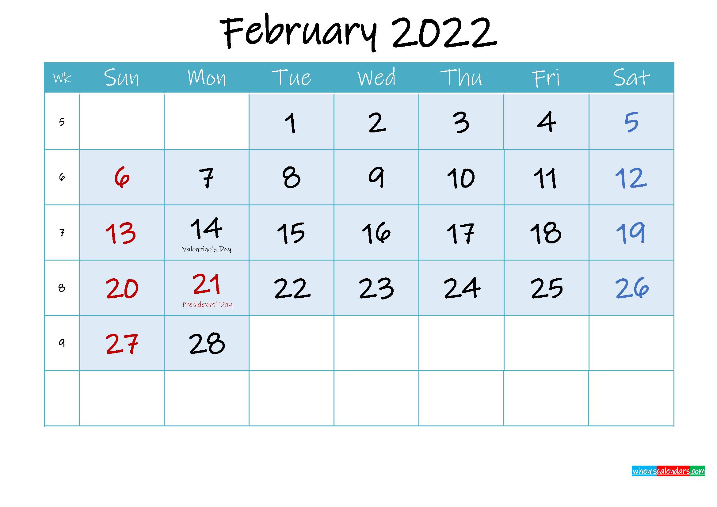 February 2022 Free Printable Calendar with Holidays