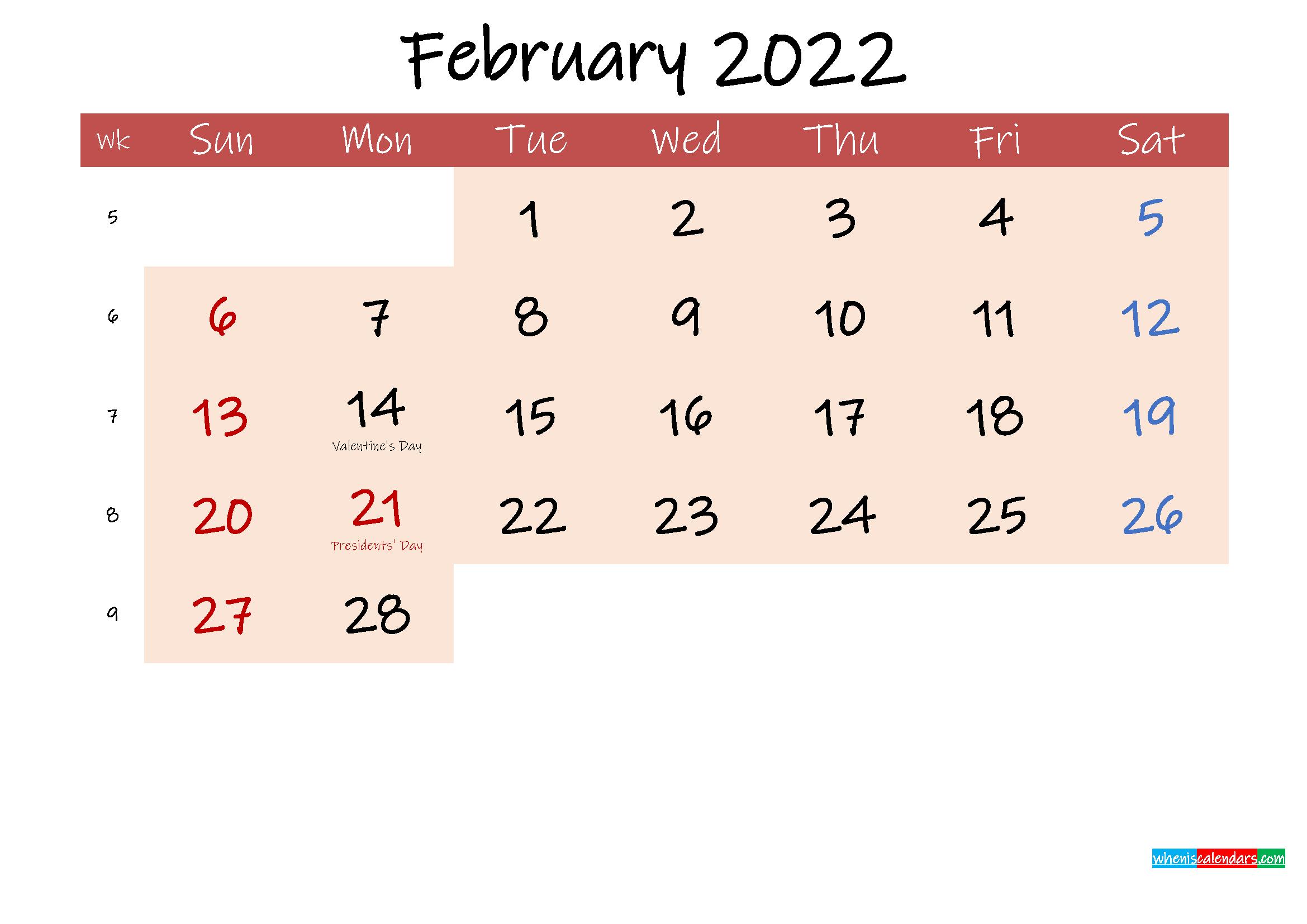 Free Printable Coloring Calendar 2022 February