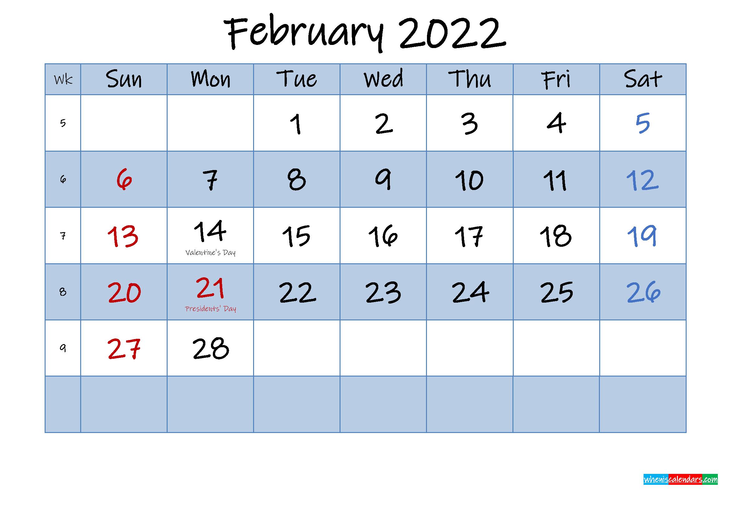 Free February 2022 Monthly Calendar PDF