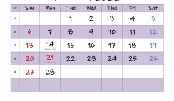 Editable February 2022 Calendar