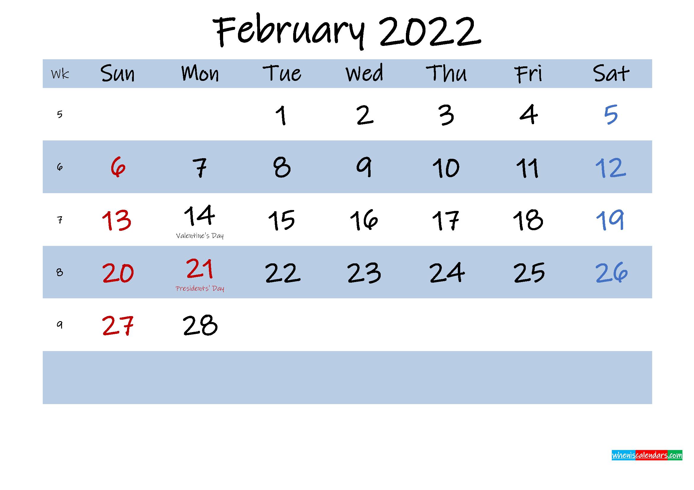 Printable February 2022 Calendar Word