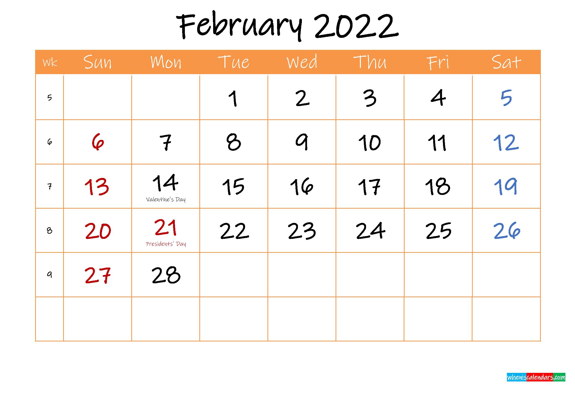 Free Printable Calendar February 2022