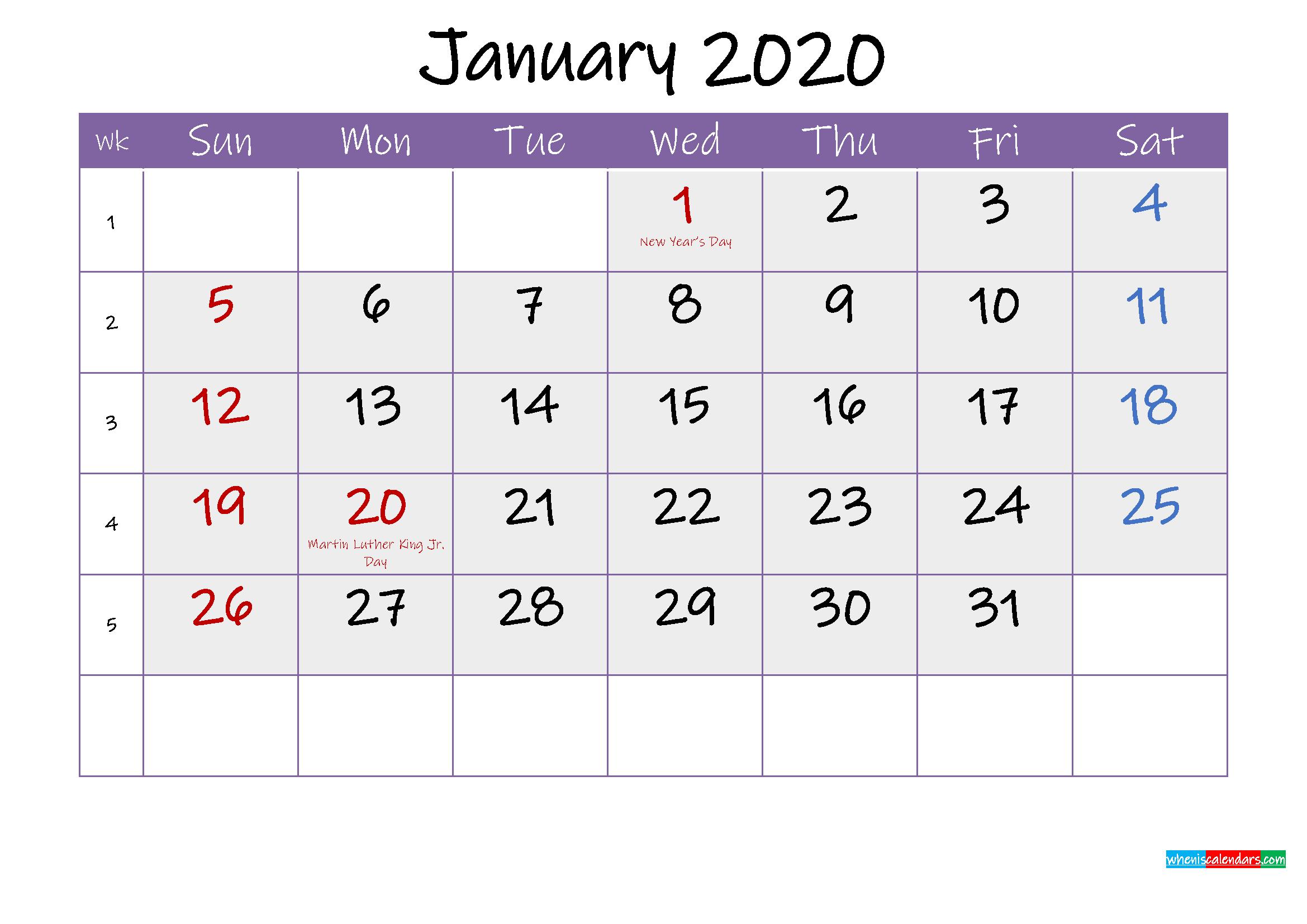 Free January 2020 Printable Calendar with Holidays