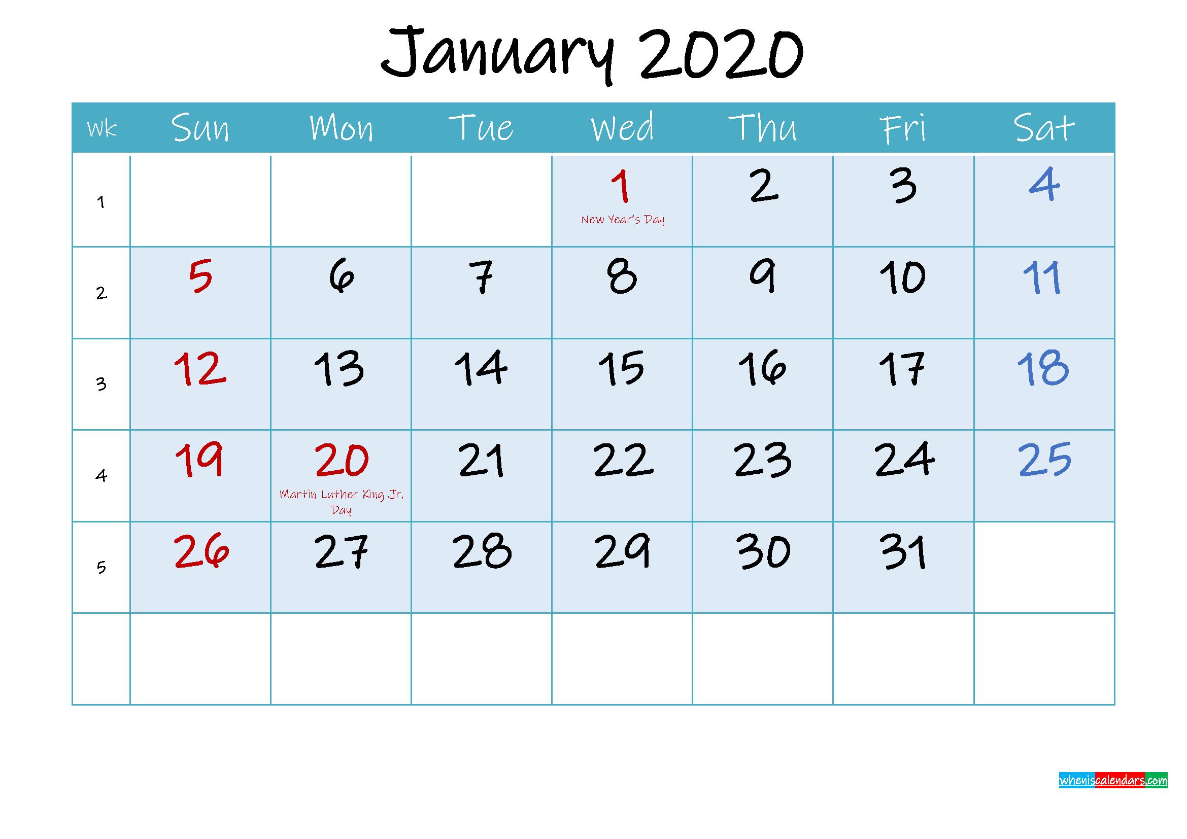 January 2020 Free Printable Calendar with Holidays