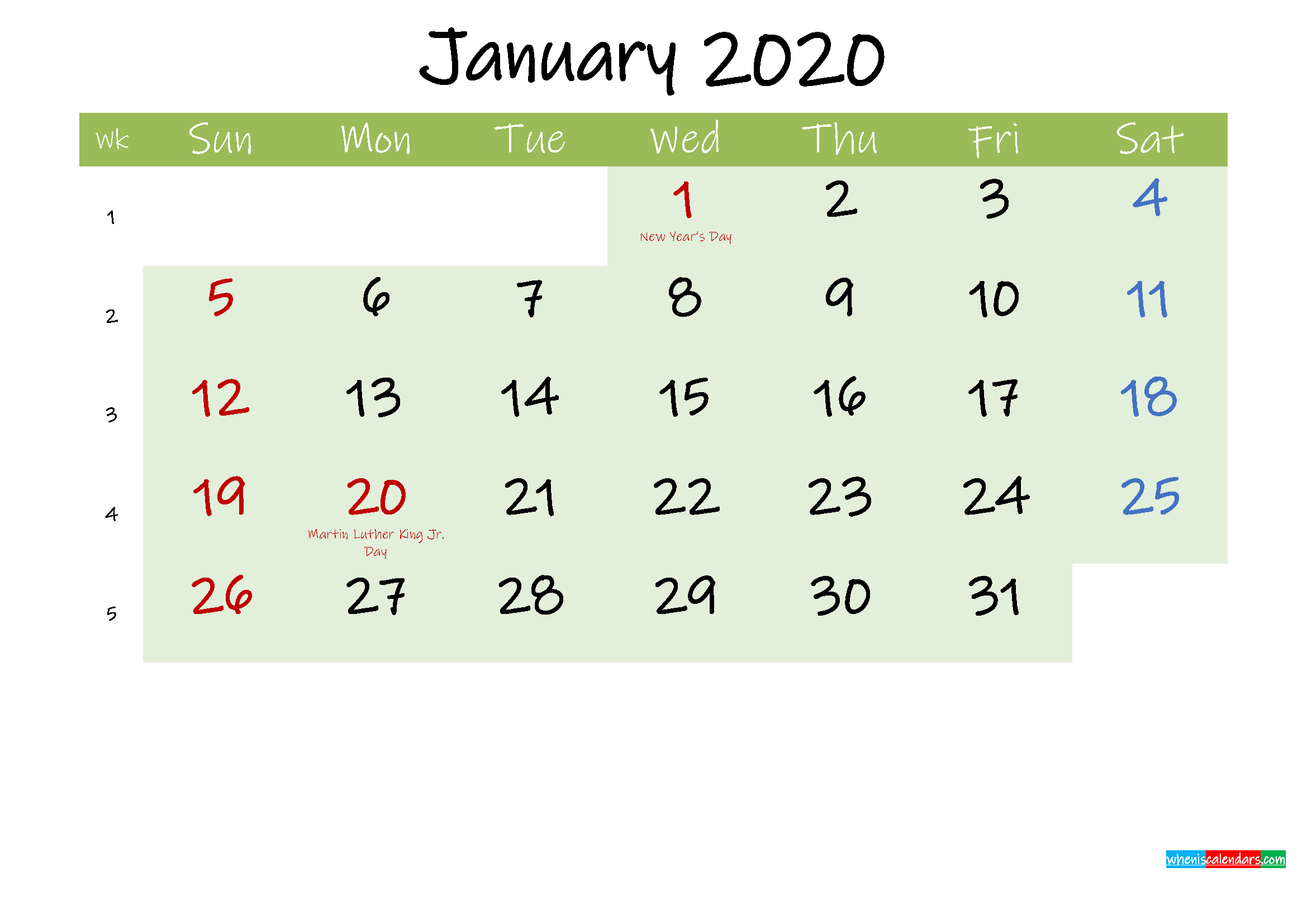 January 2020 Calendar with Holidays Printable