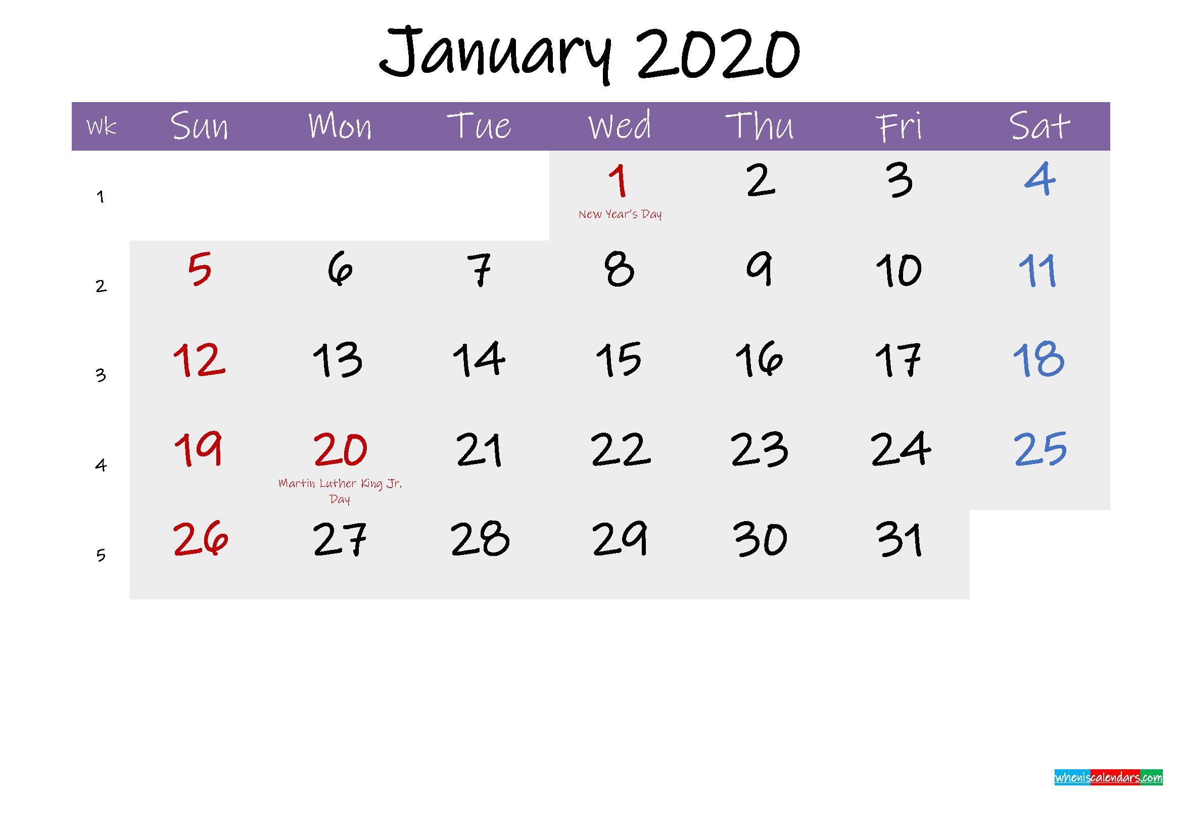 Editable January 2020 Calendar Word