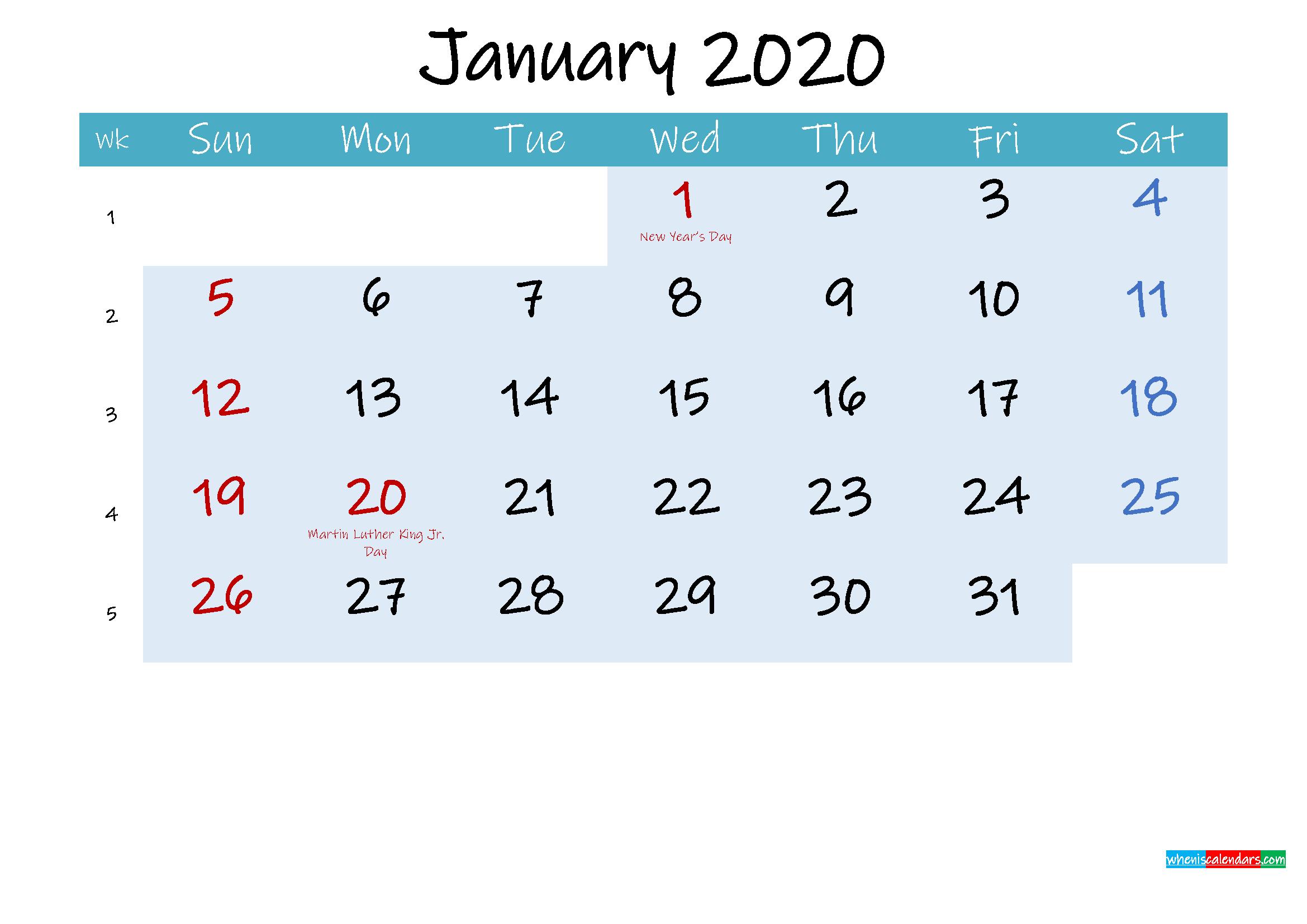 Printable January 2020 Calendar Word