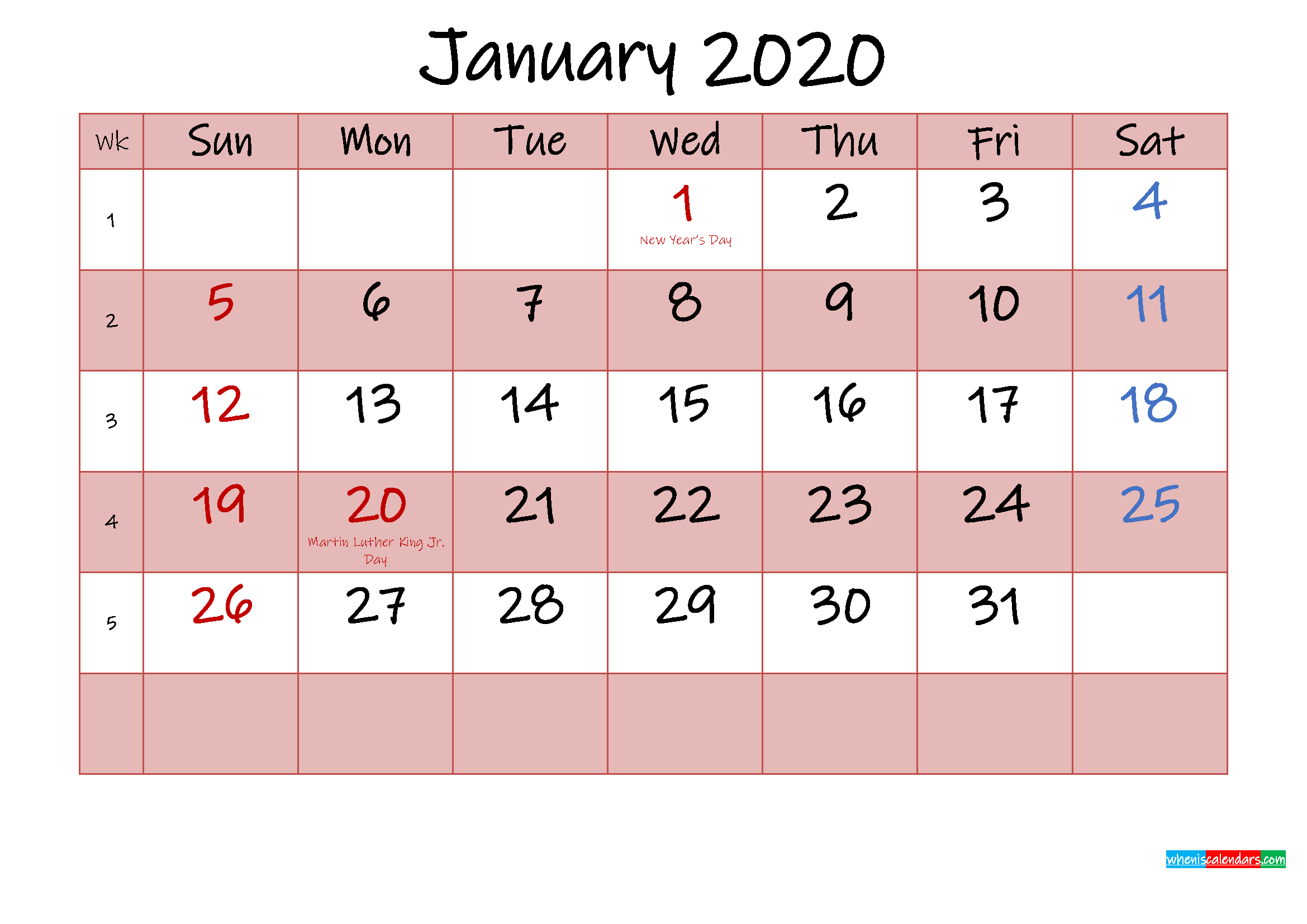 Free Printable Coloring Calendar 2020 January