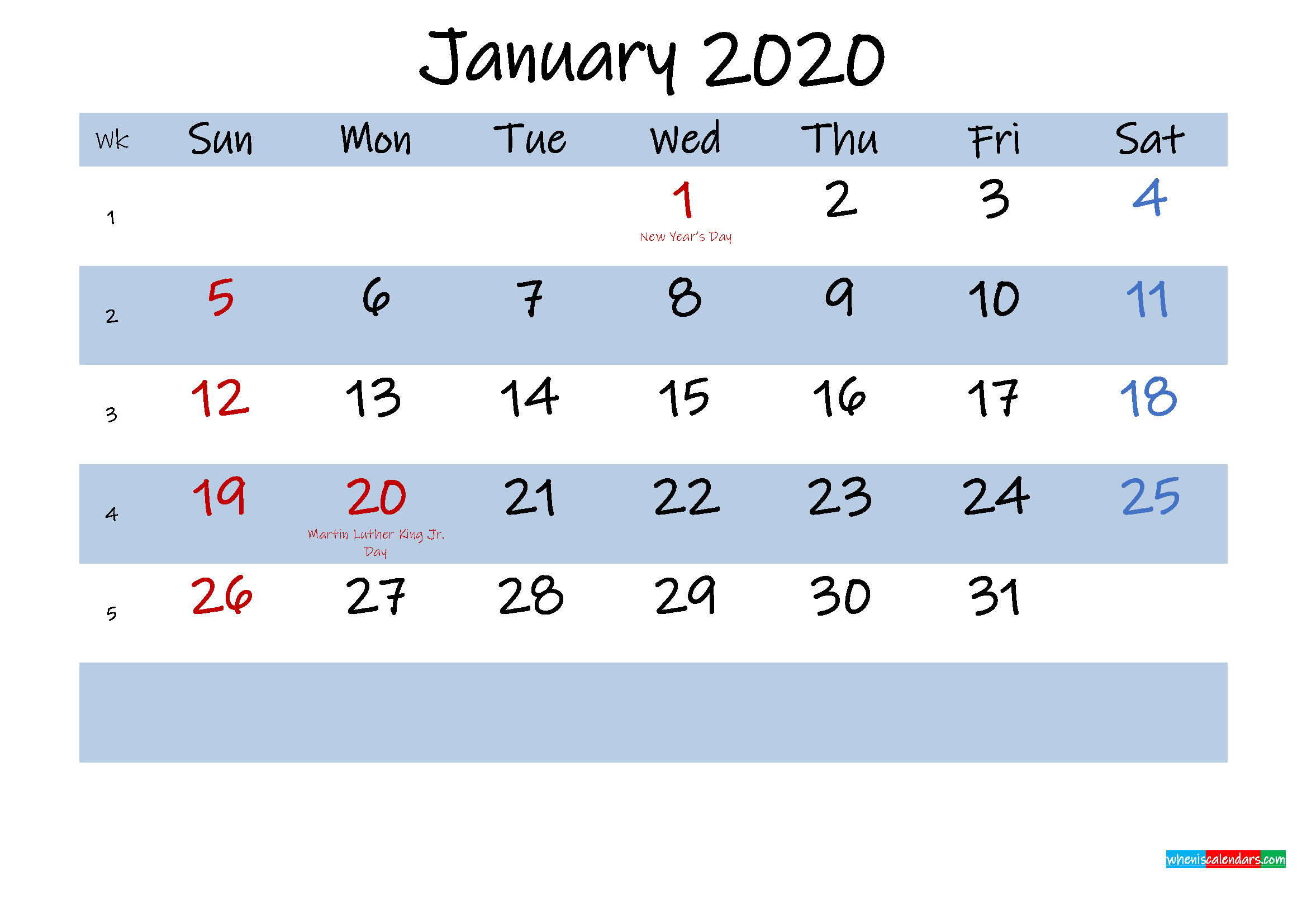 Printable January 2020 Calendar Word