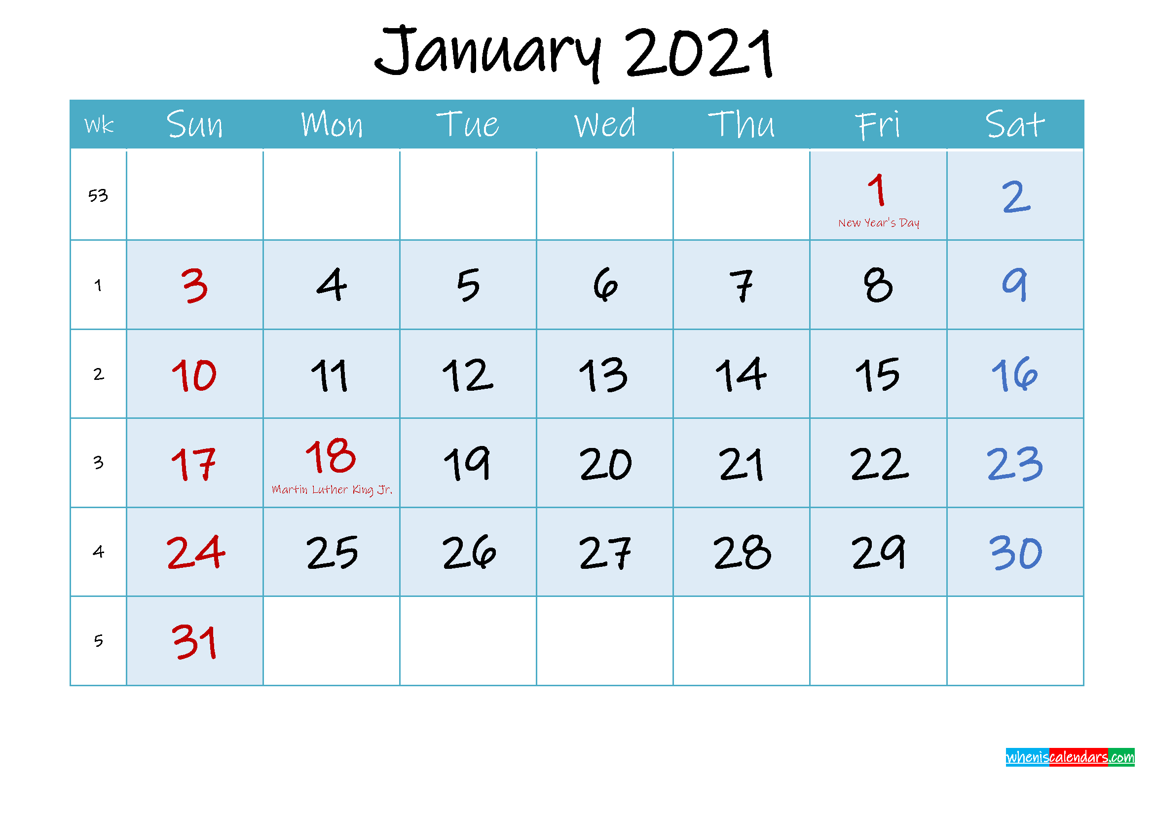 January 2021 Free Printable Calendar with Holidays