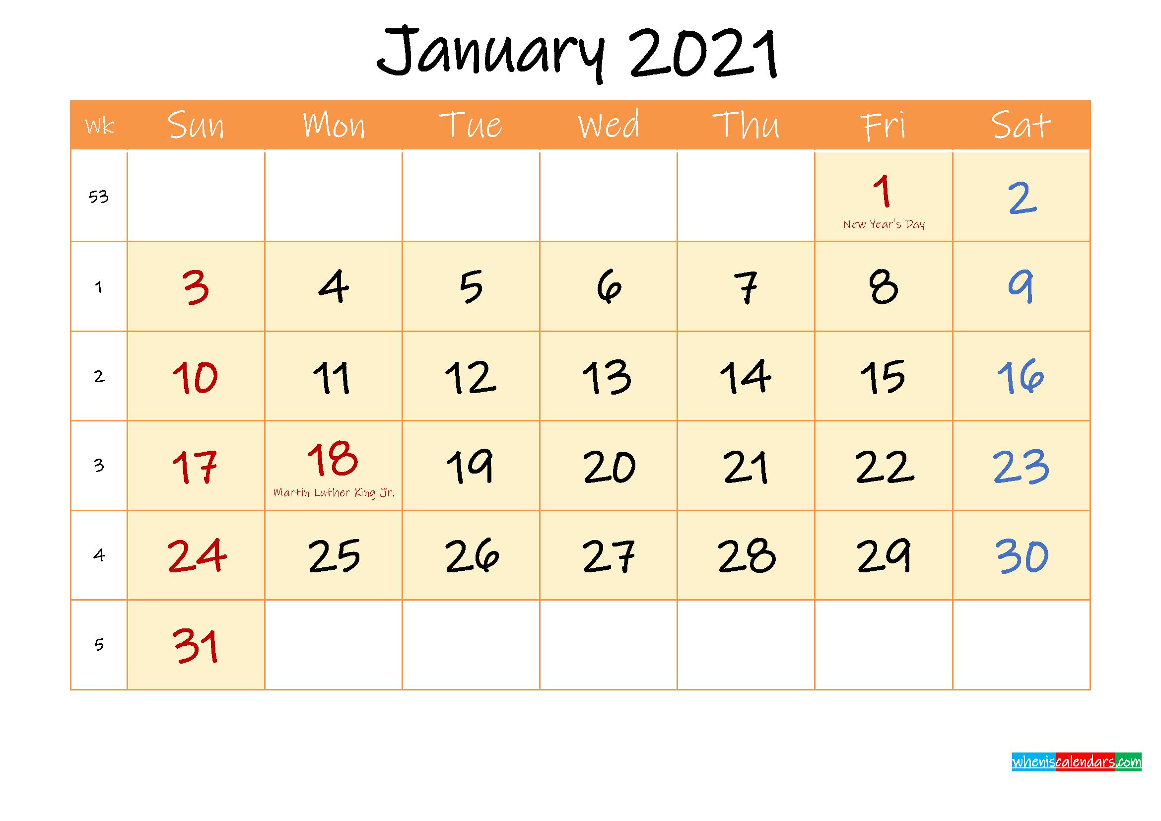 January 2021 Free Printable Calendar