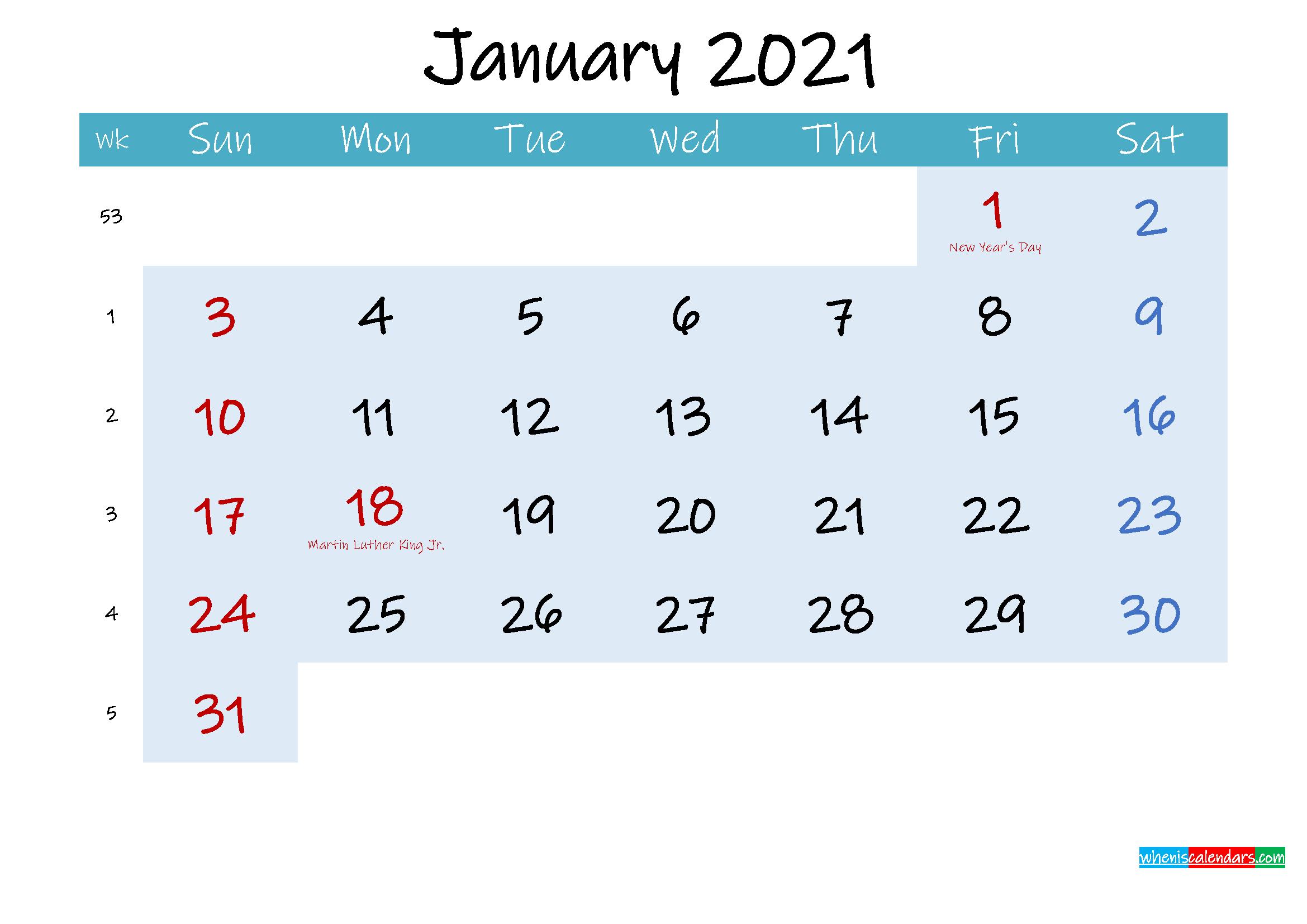 Printable January 2021 Calendar Word