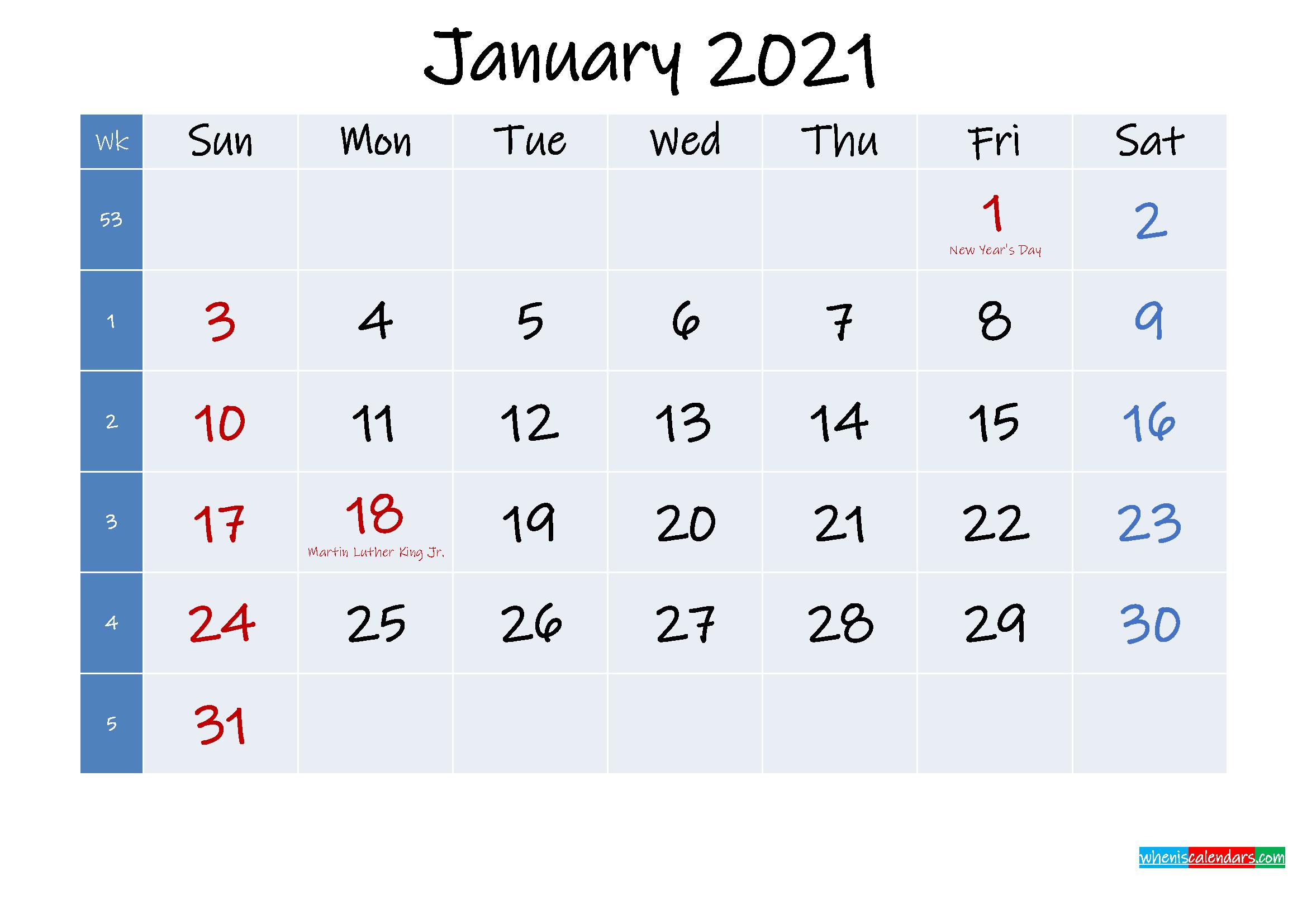 Printable January 2021 Calendar with Holidays
