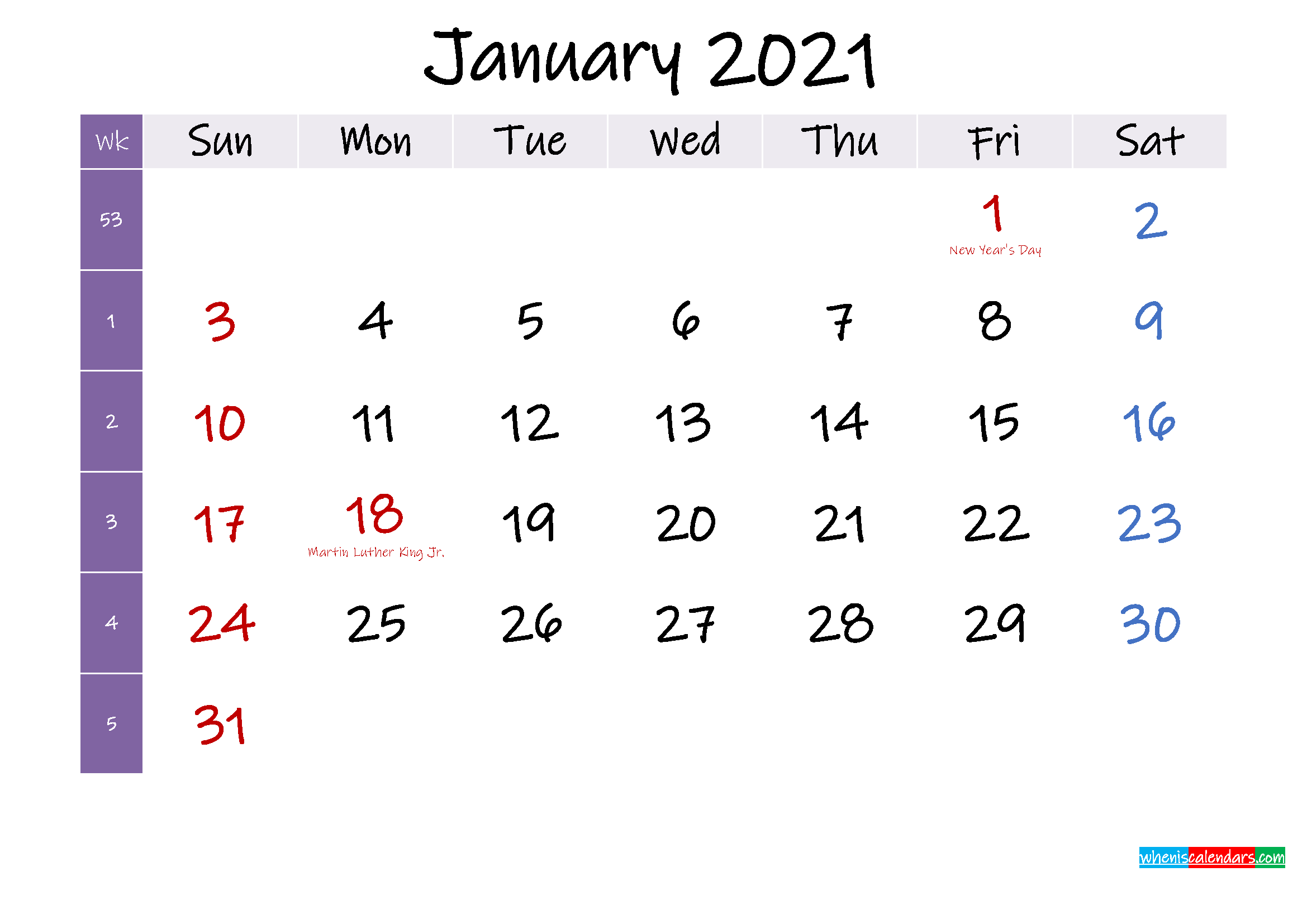 January 2021 Free Printable Calendar with Holidays ...