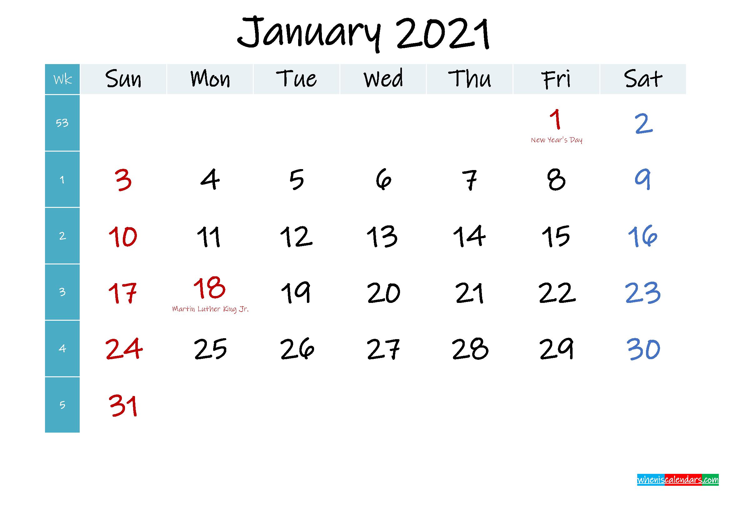 January 2021 Free Printable Calendar - Template No ...