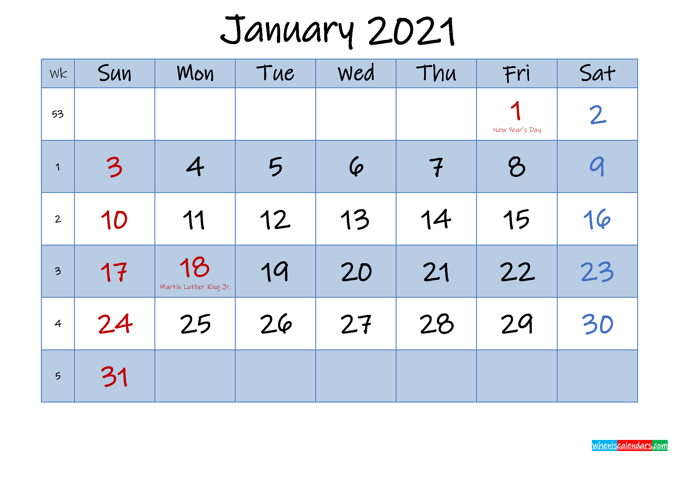 Free January 2021 Monthly Calendar PDF