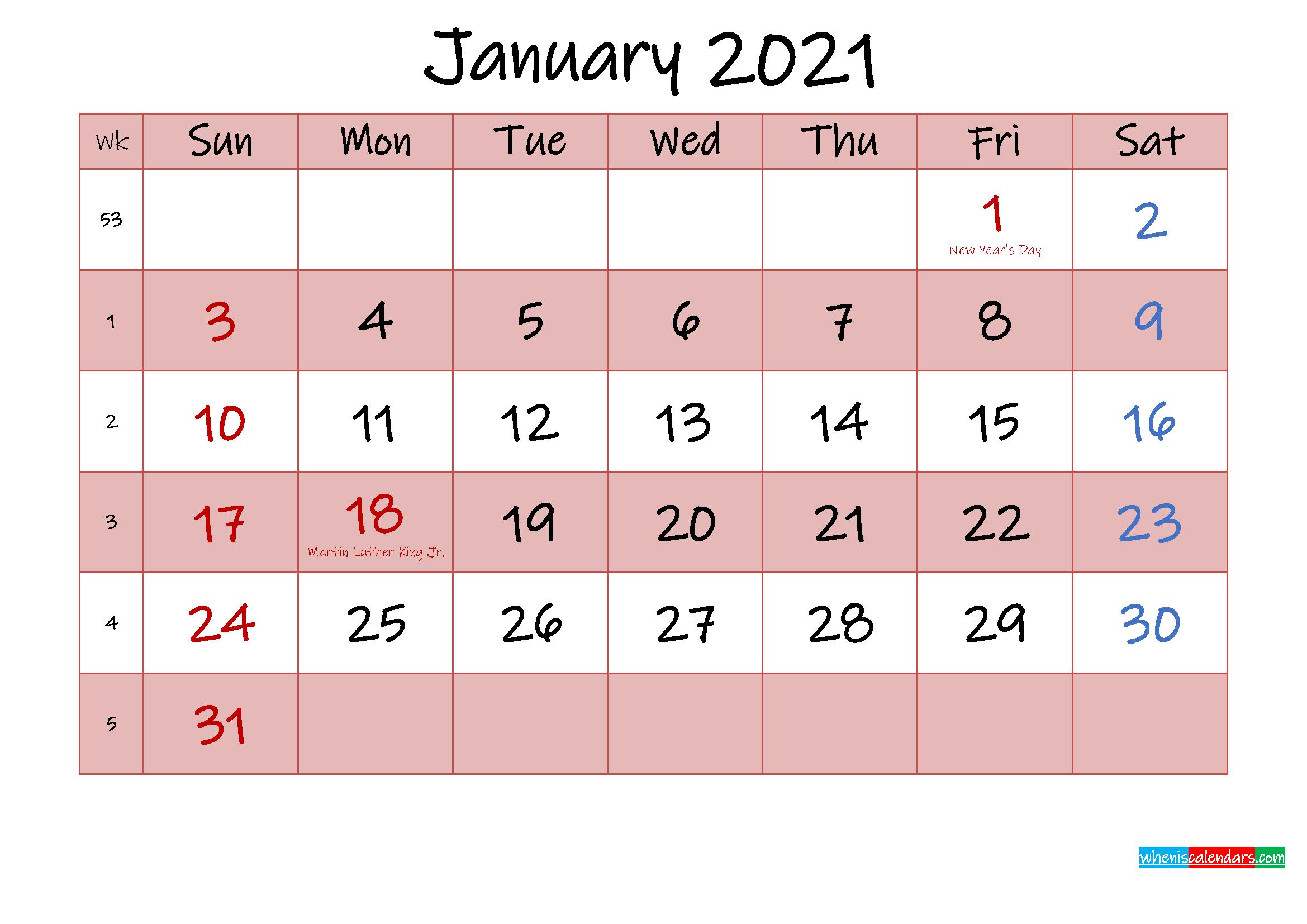 Free Printable Coloring Calendar 2021 January - Template ...