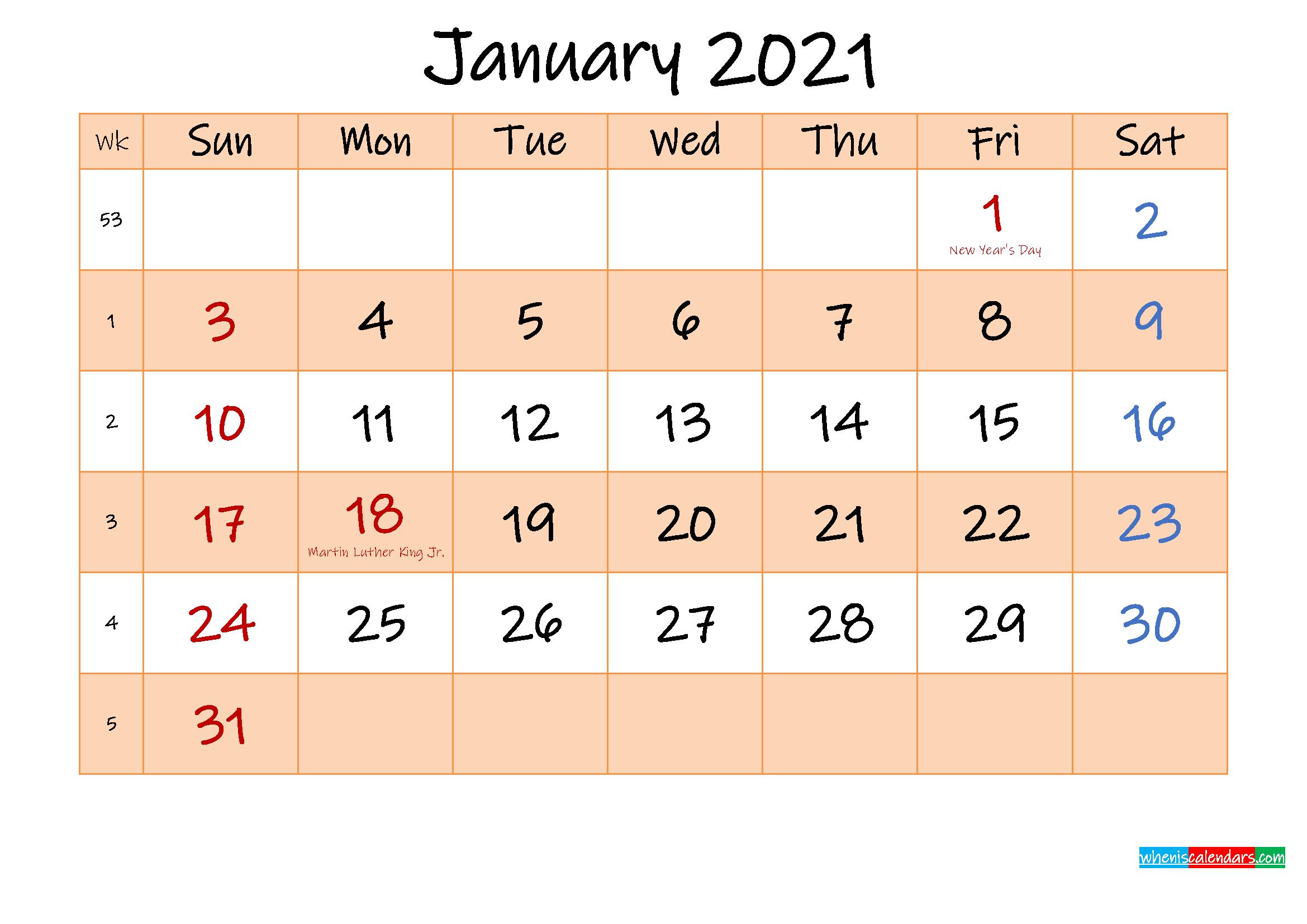 Editable January 2021 Calendar