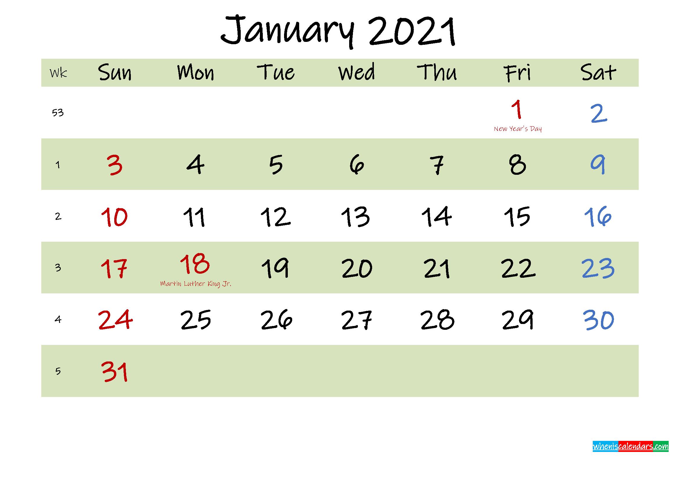 Free Printable January 2021 Calendar with Holidays ...