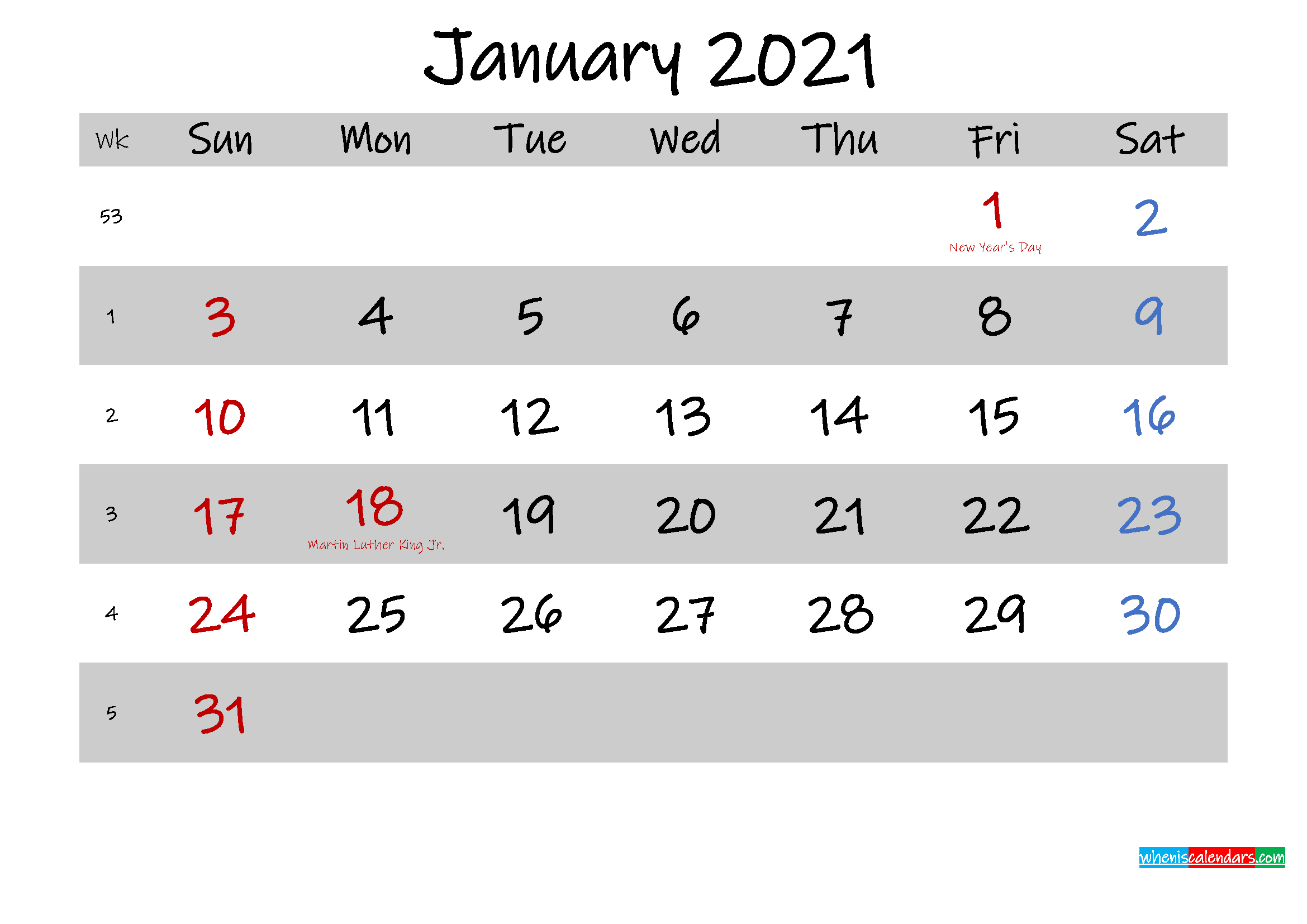 Free Printable Monthly Calendar January 2021 Calendar With ...