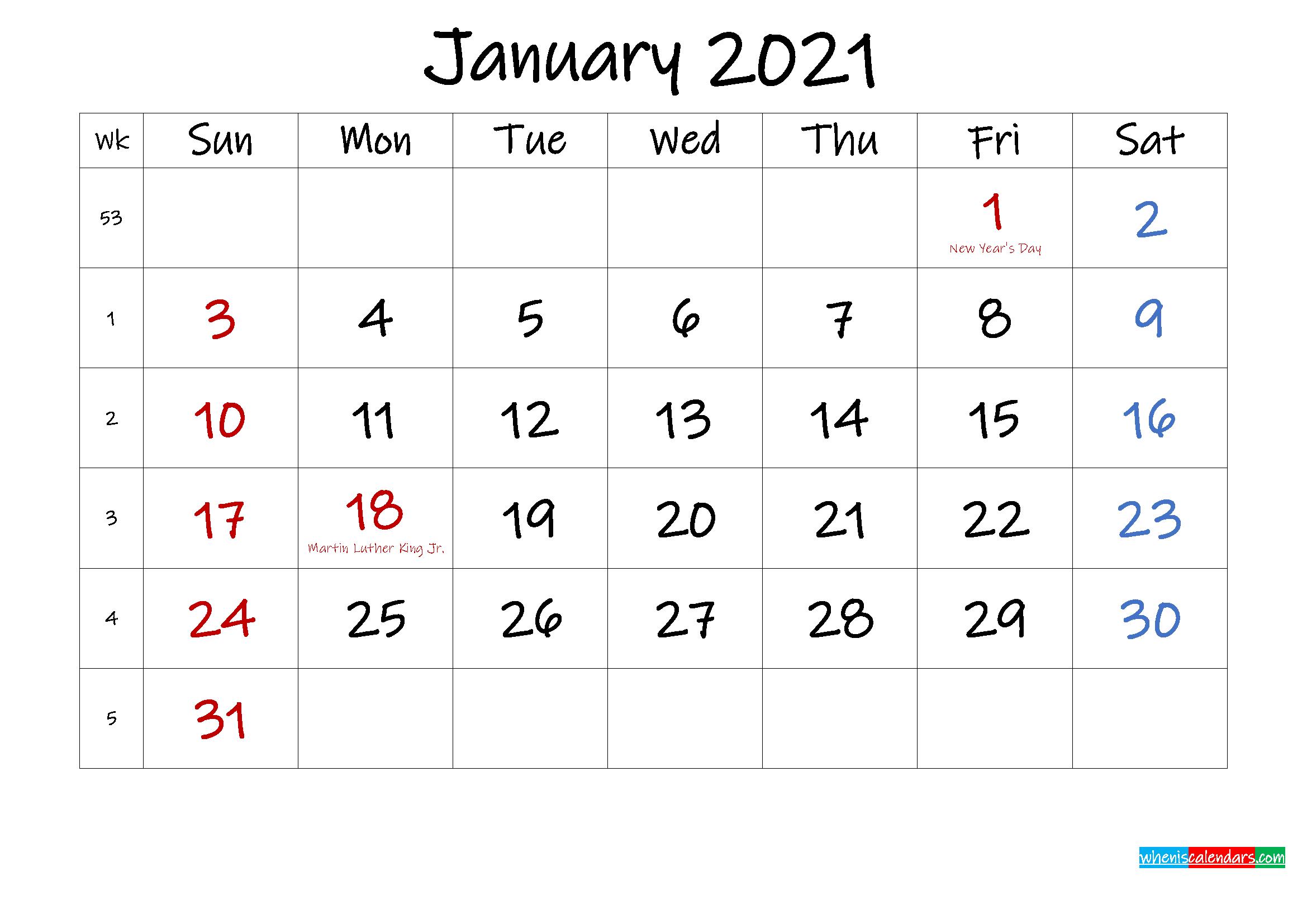 January 2021 Free Printable Calendar with Holidays