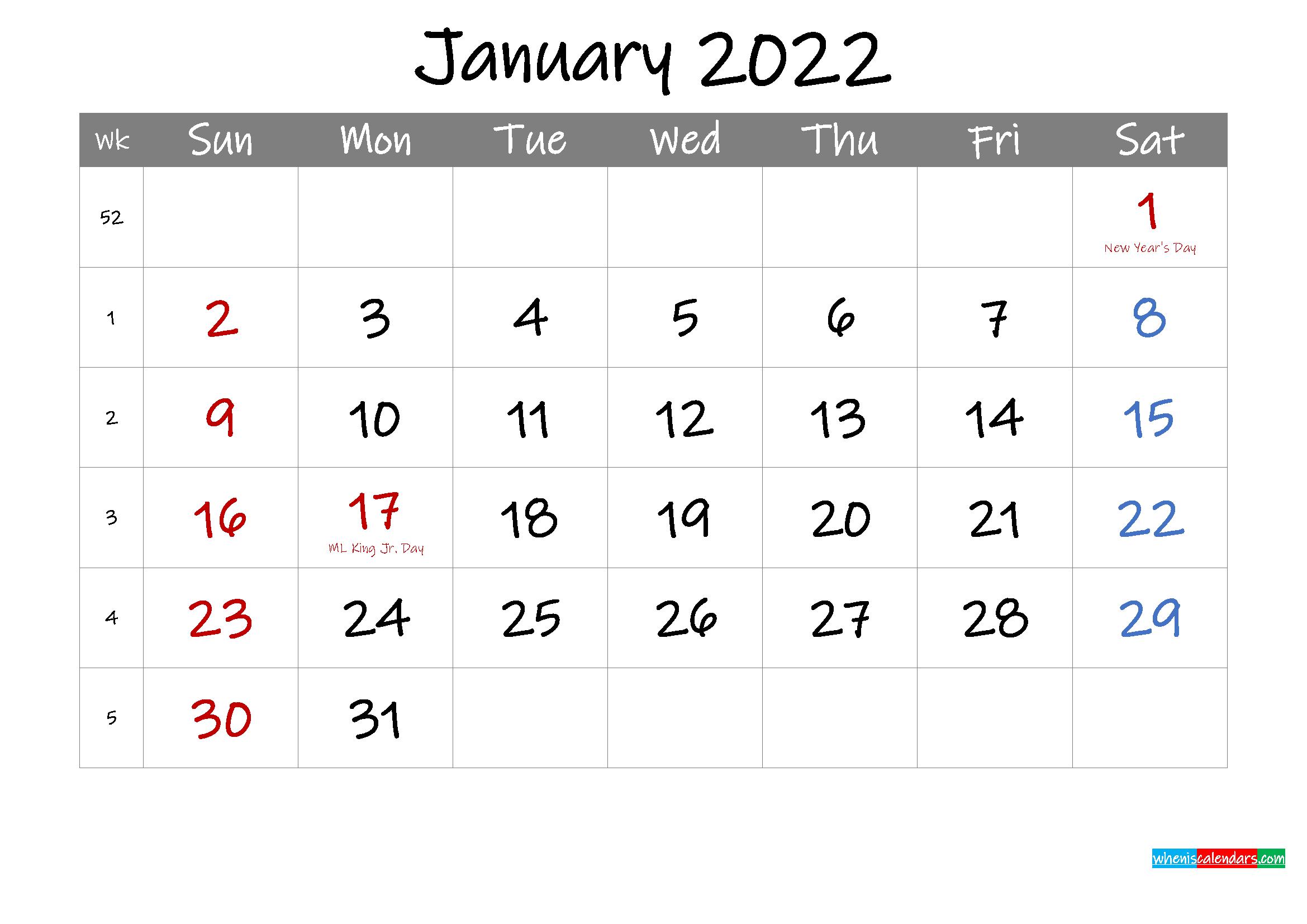 Editable January 2022 Calendar with Holidays