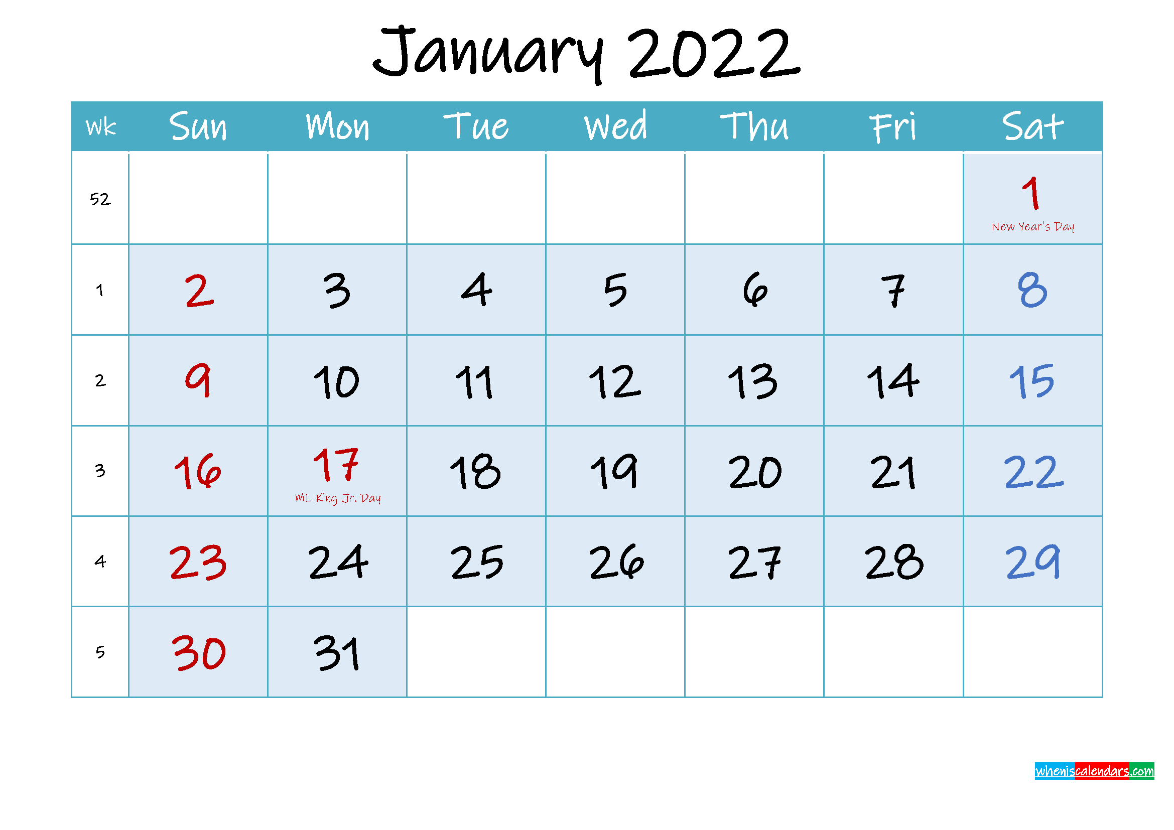 January 2022 Free Printable Calendar with Holidays