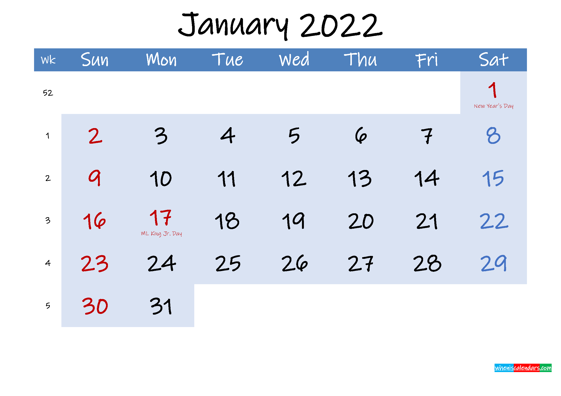 Free January 2022 Monthly Calendar PDF