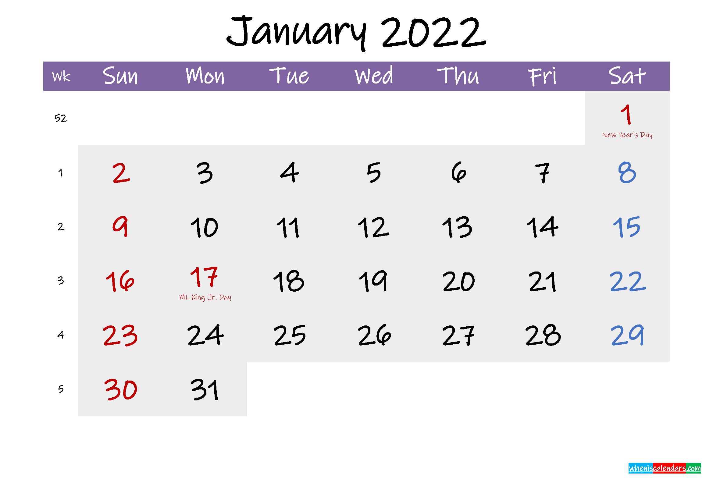 Editable January 2022 Calendar Word