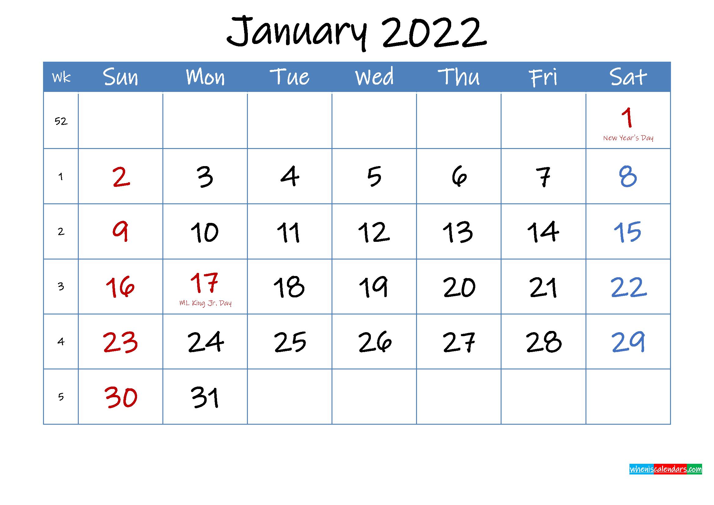 Printable January 2022 Calendar Word
