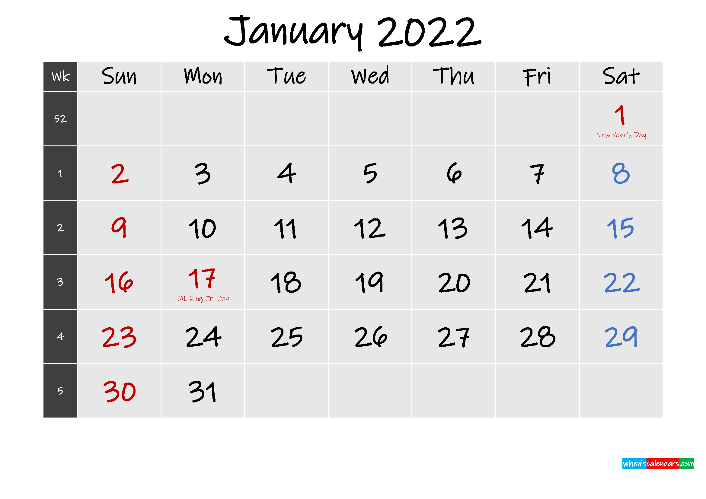 Printable January 2022 Calendar Word