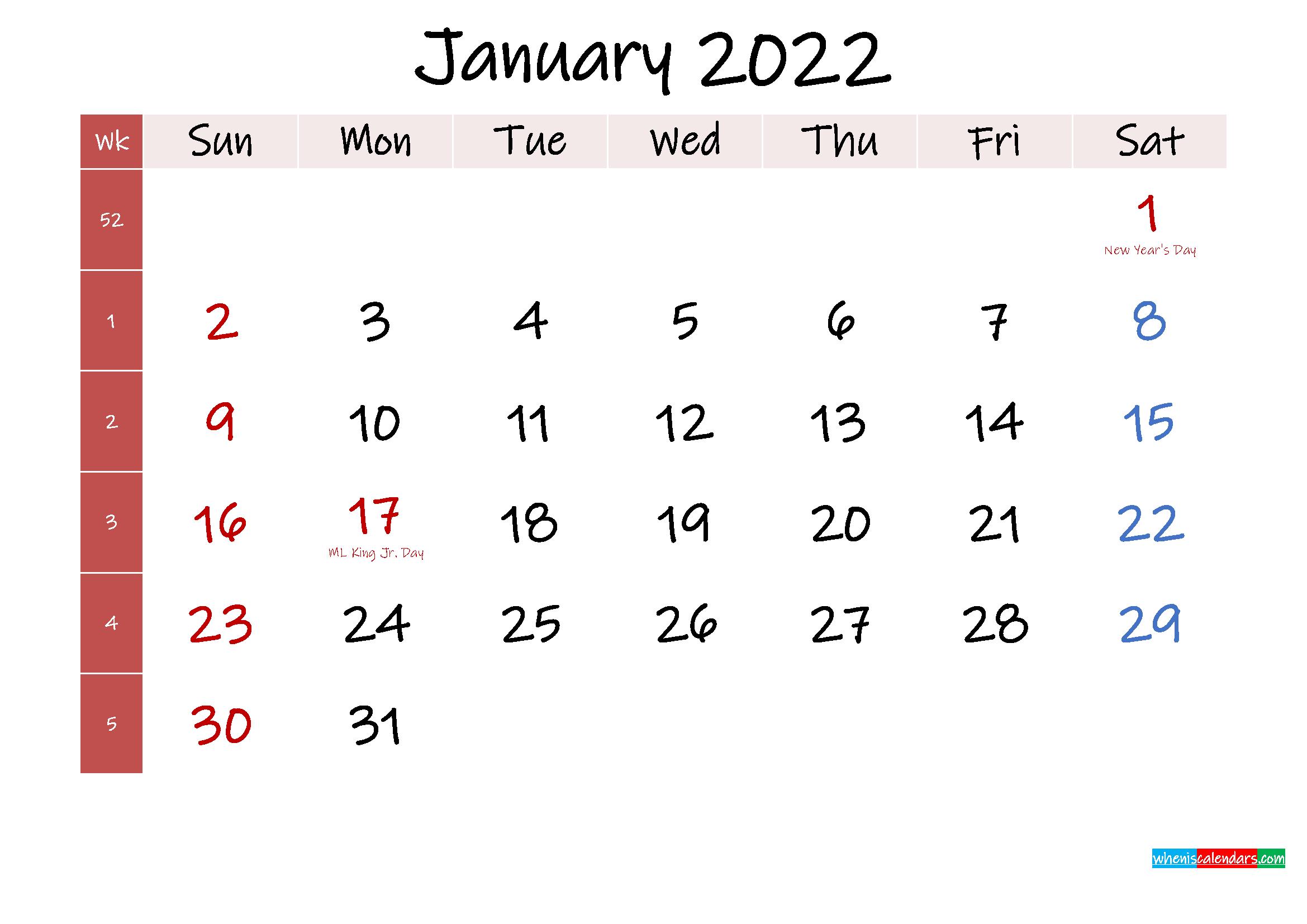 January 2022 Free Printable Calendar