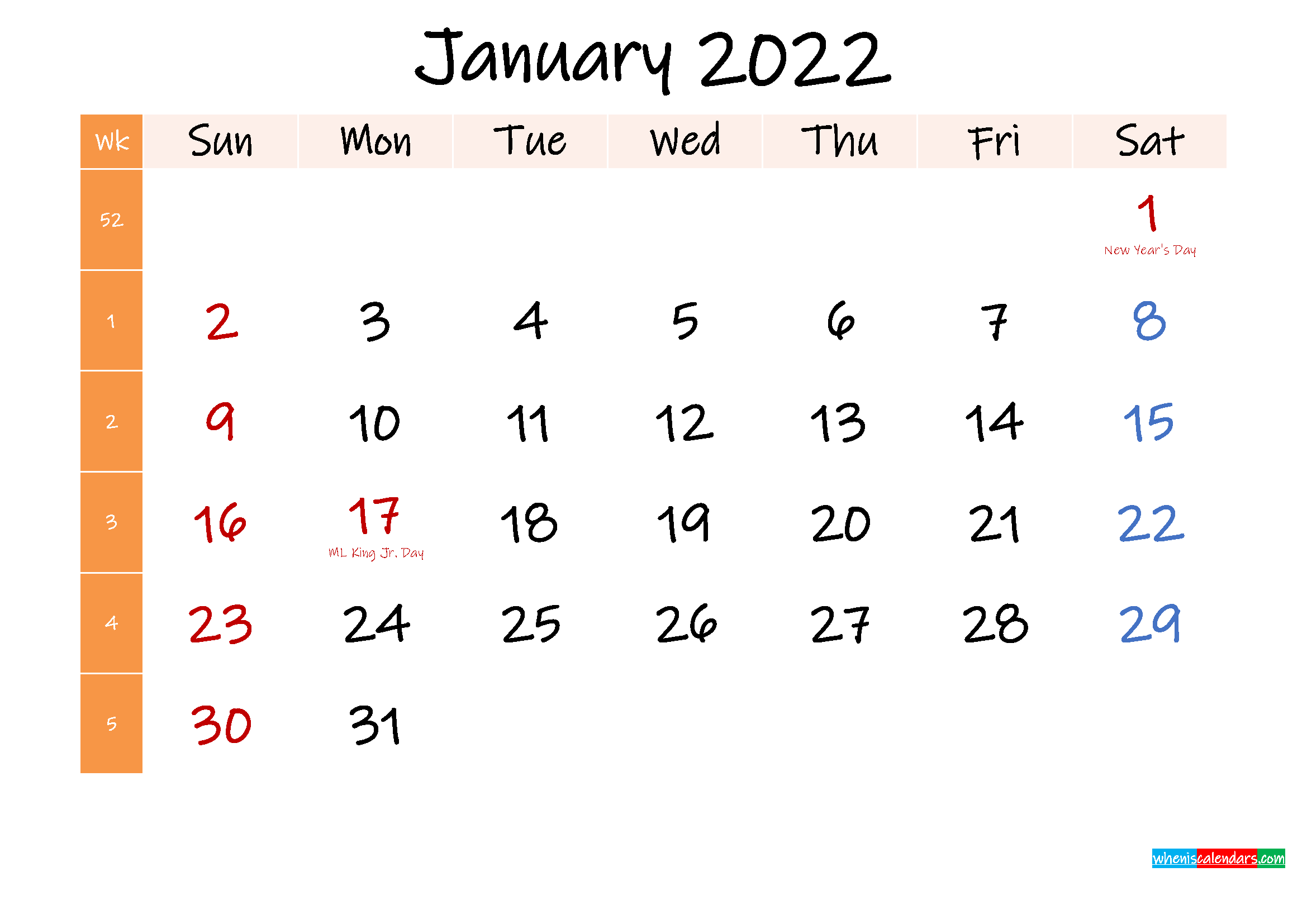 Free January 2022 Monthly Calendar Template Word ...