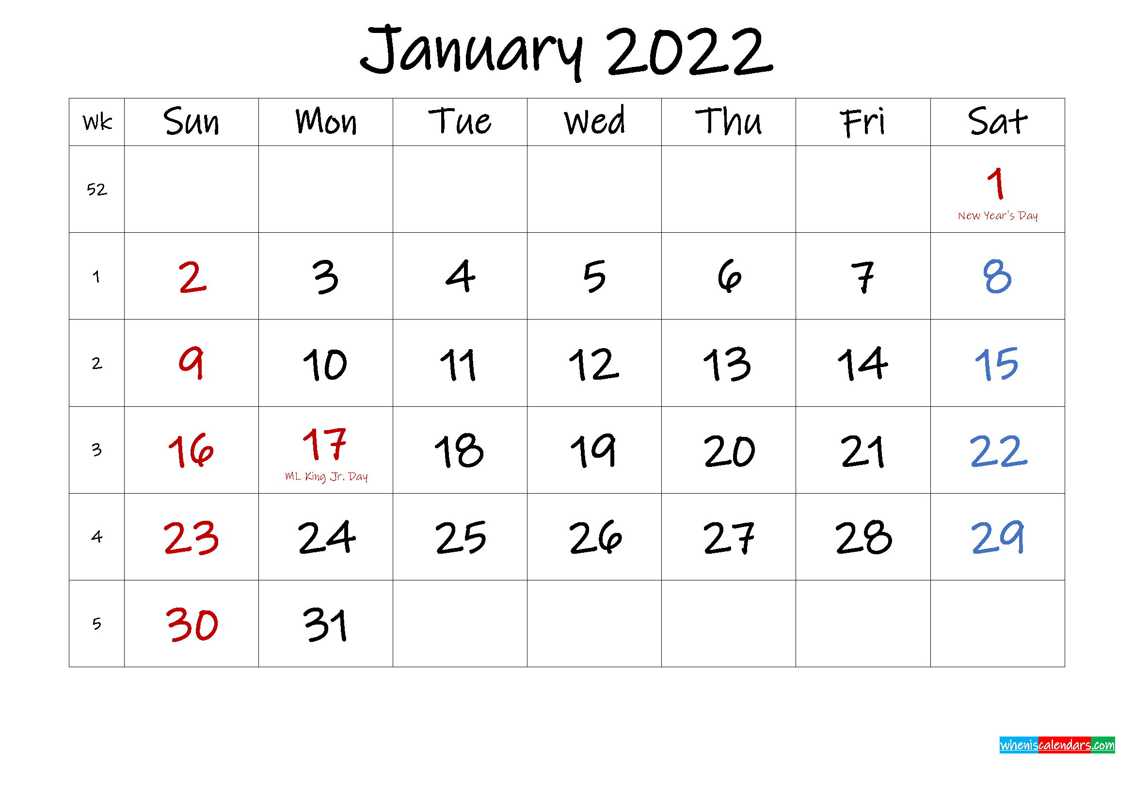 January 2022 Free Printable Calendar with Holidays ...