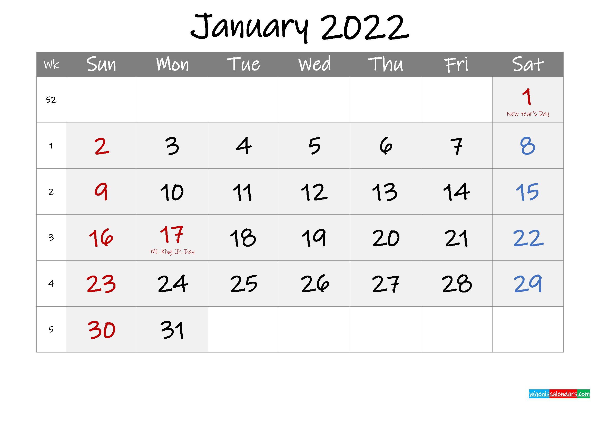 Free Printable January 2022 Calendar with Holidays ...
