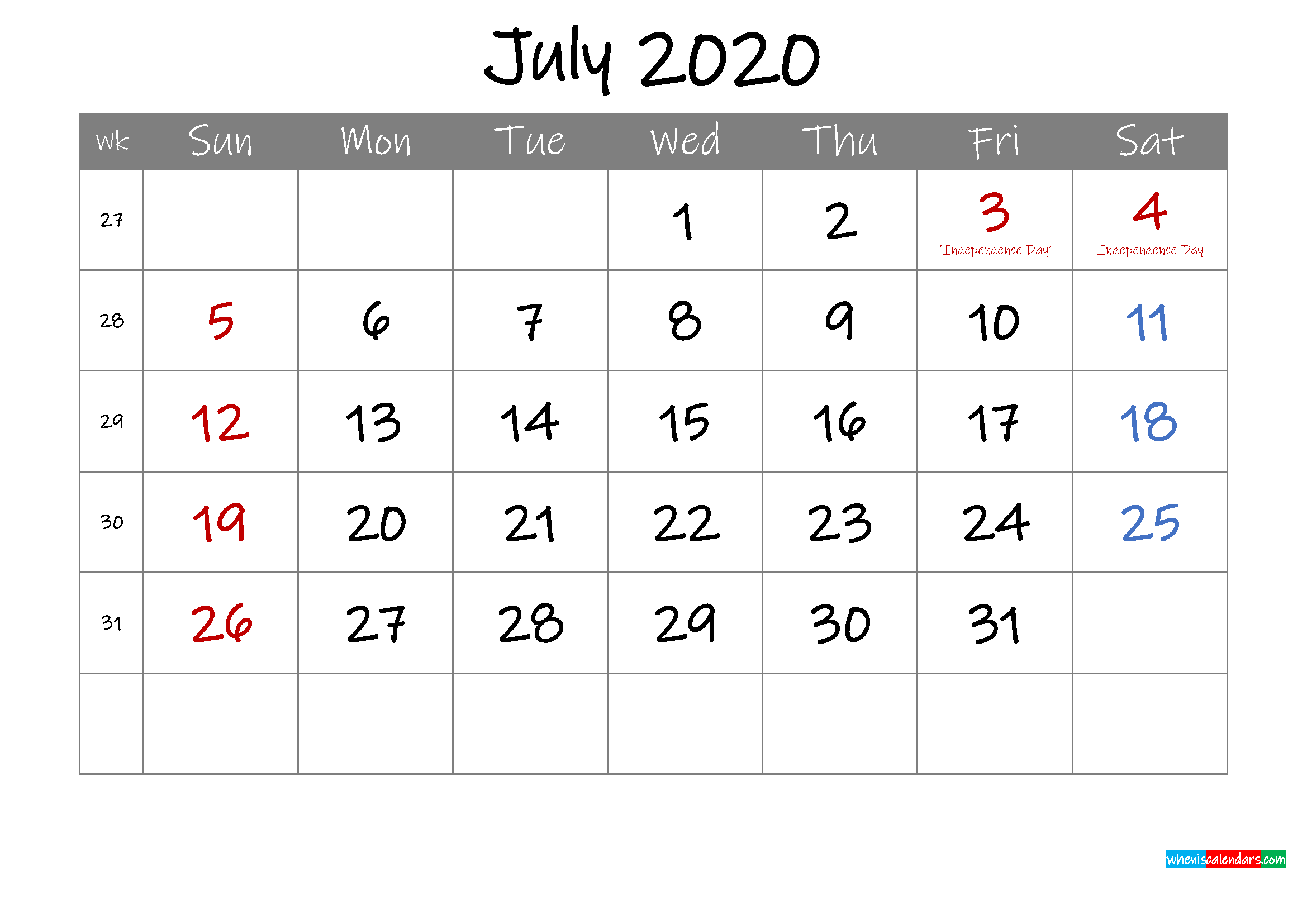 Editable July 2020 Calendar with Holidays