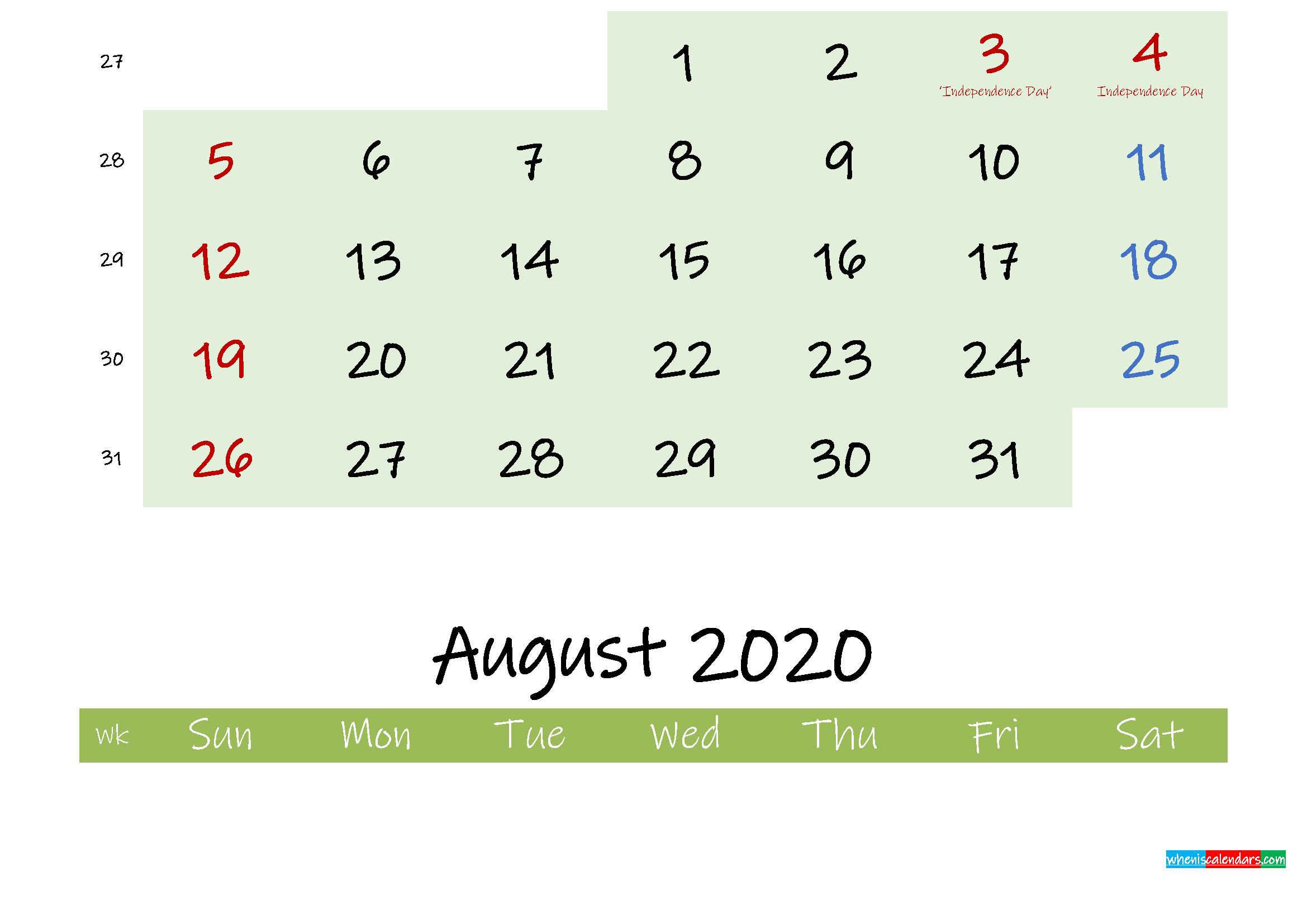 July 2020 Calendar with Holidays Printable