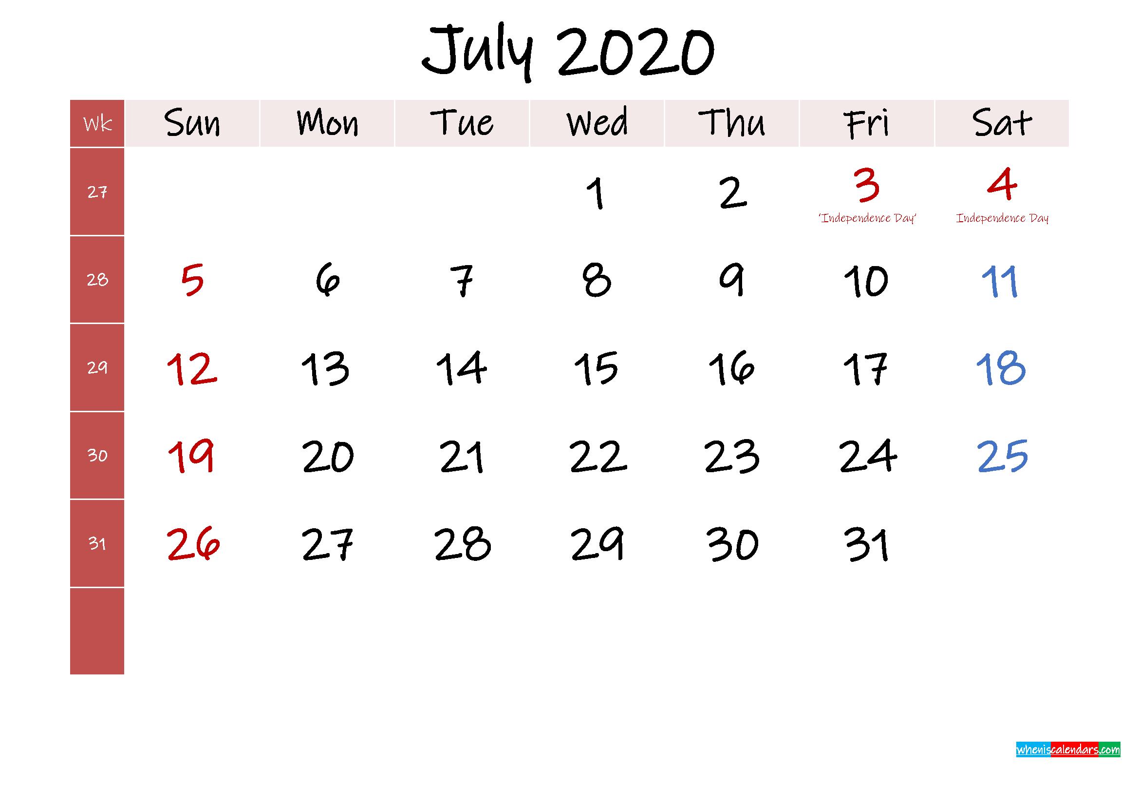 July 2020 Free Printable Calendar