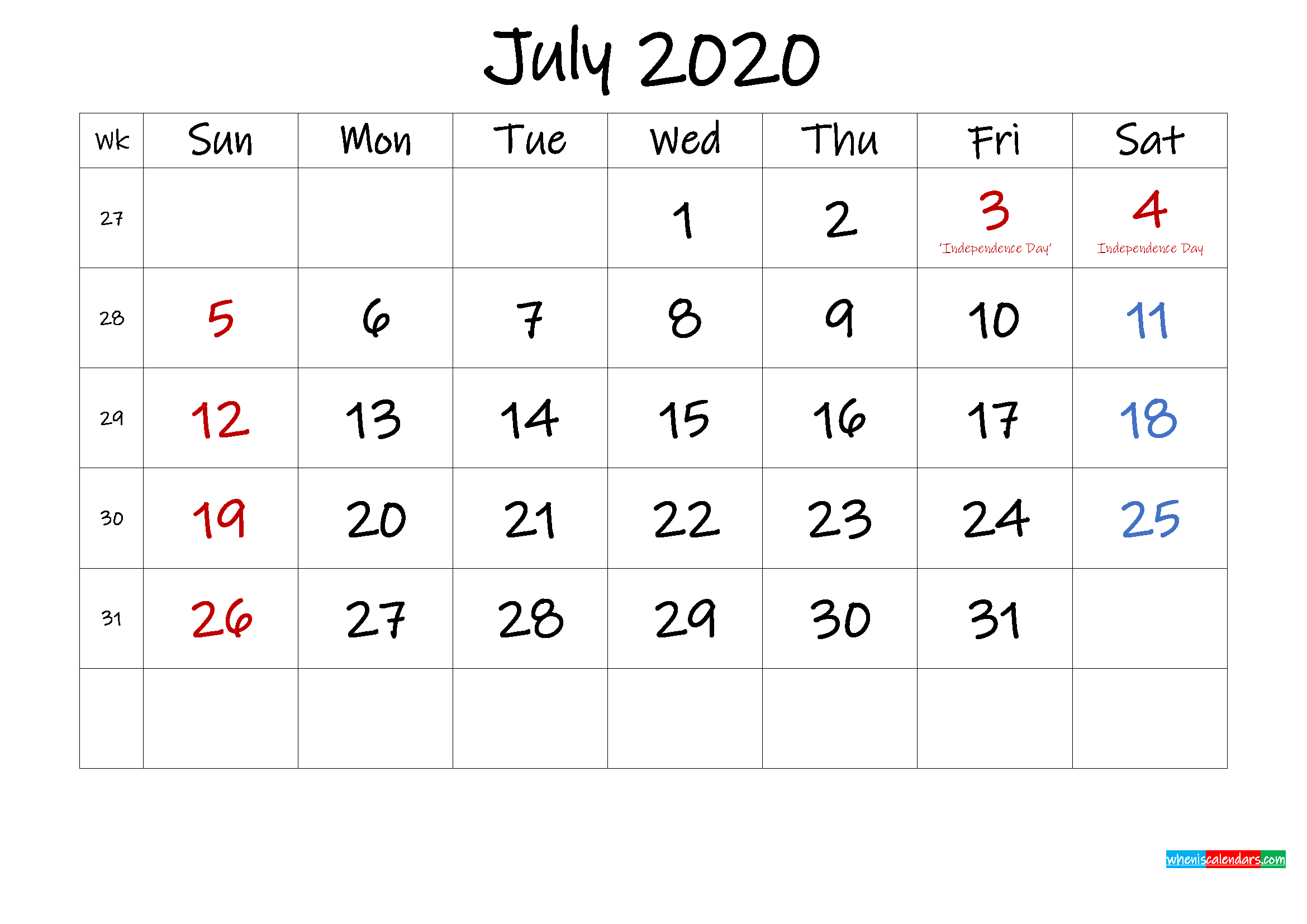 July 2020 Free Printable Calendar with Holidays