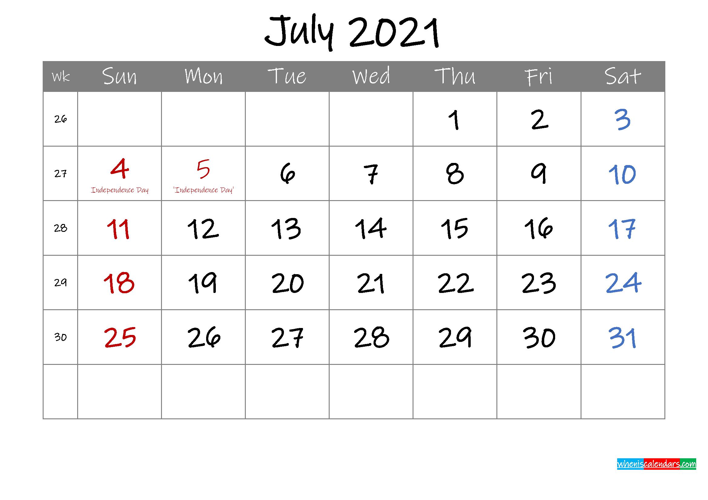 Editable July 2021 Calendar with Holidays - Template ...