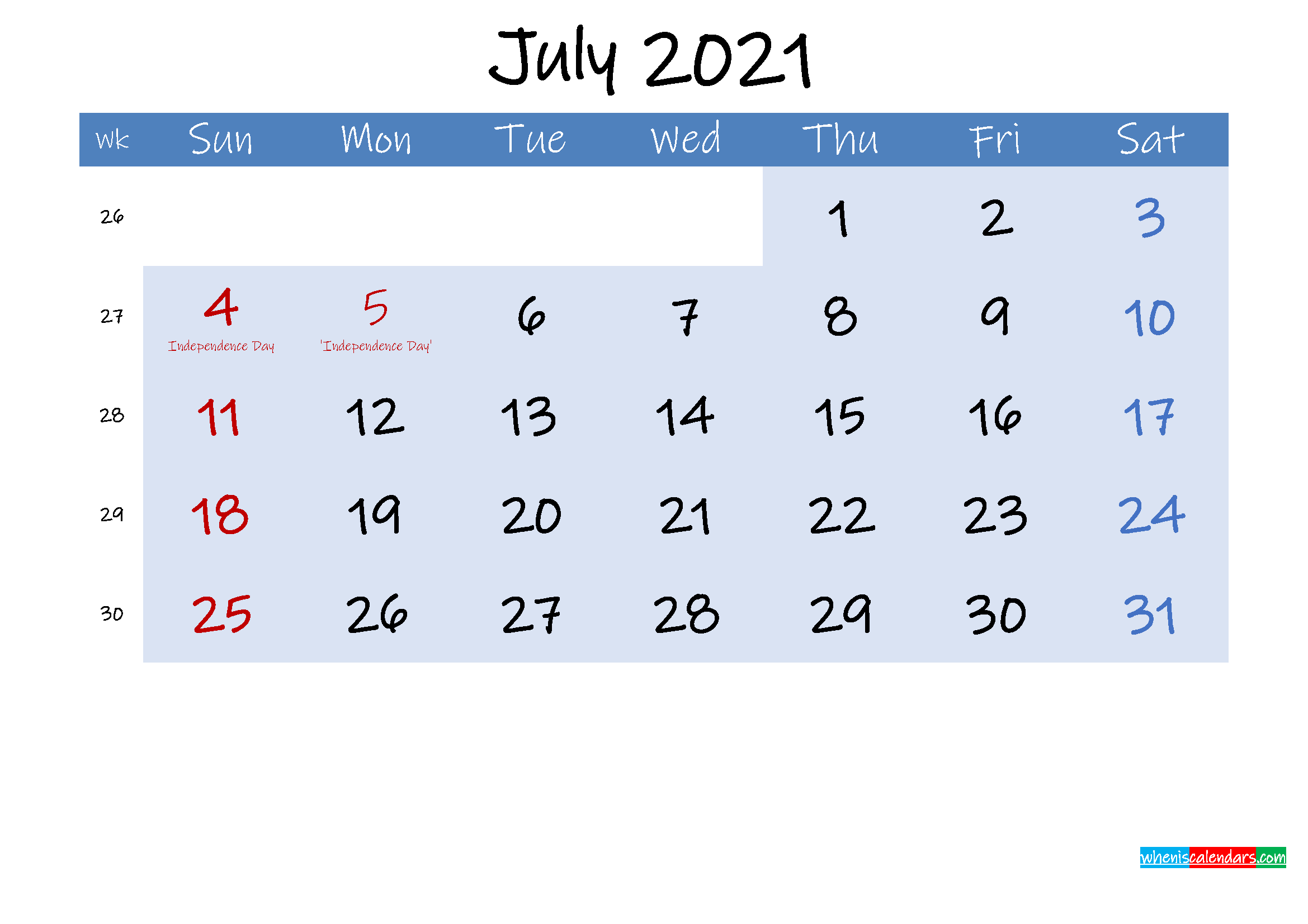 Free July 2021 Monthly Calendar PDF