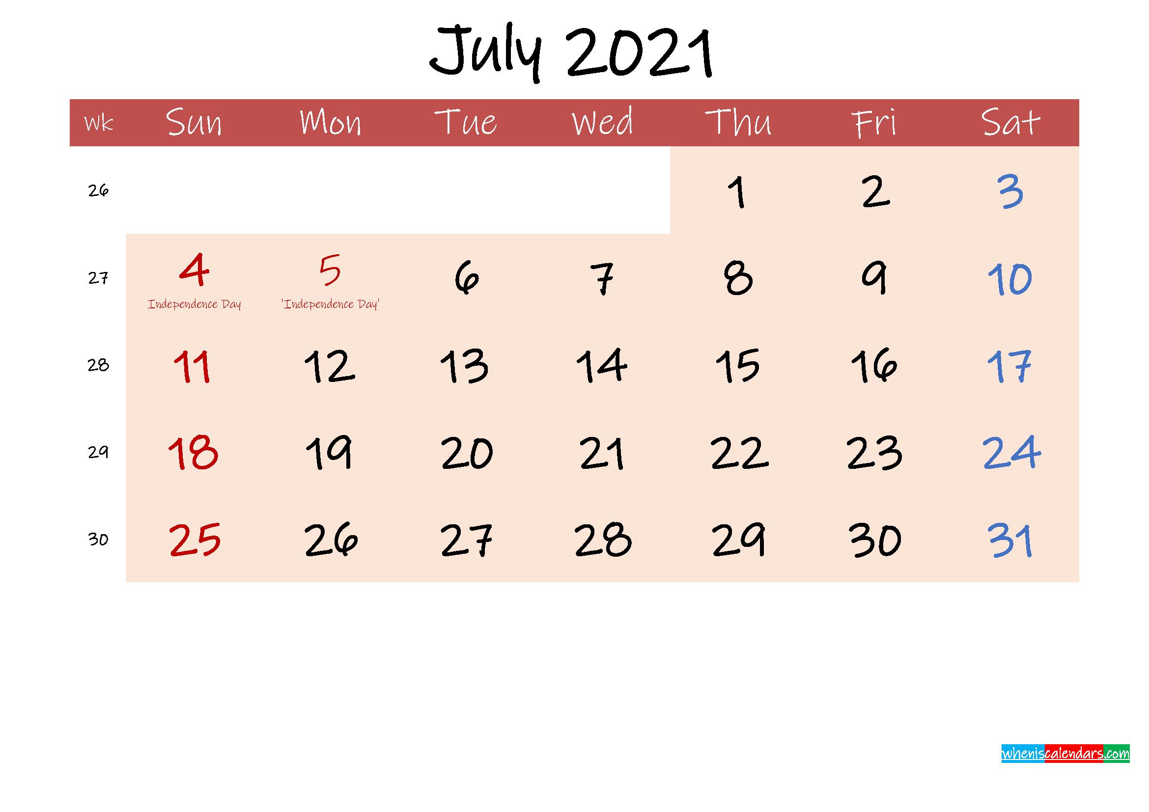 Free Printable Coloring Calendar 2021 July